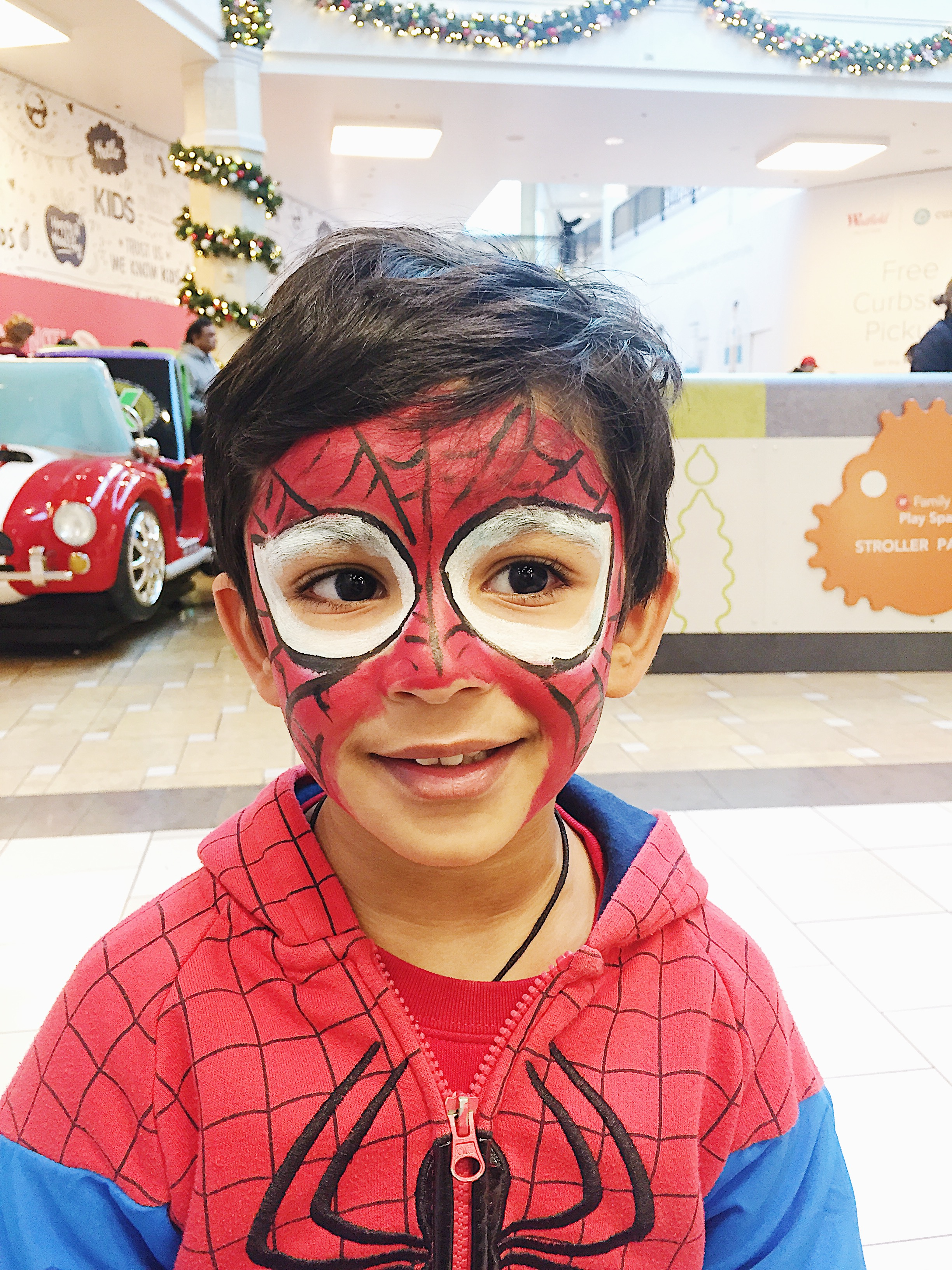 Image of Spiderman face paint.