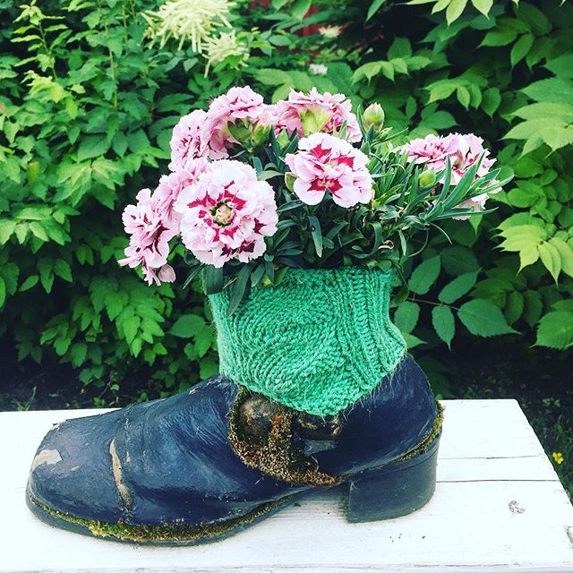 Midsummer flowers :) #flower #boots #creative #pink #summer #garden #green #finland #soundshade