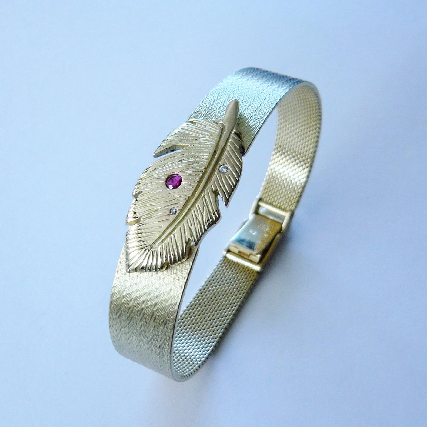 Umbau Uhren-Armband - KundenanfertigungGelbgold 750 / Rubin / Brillanten