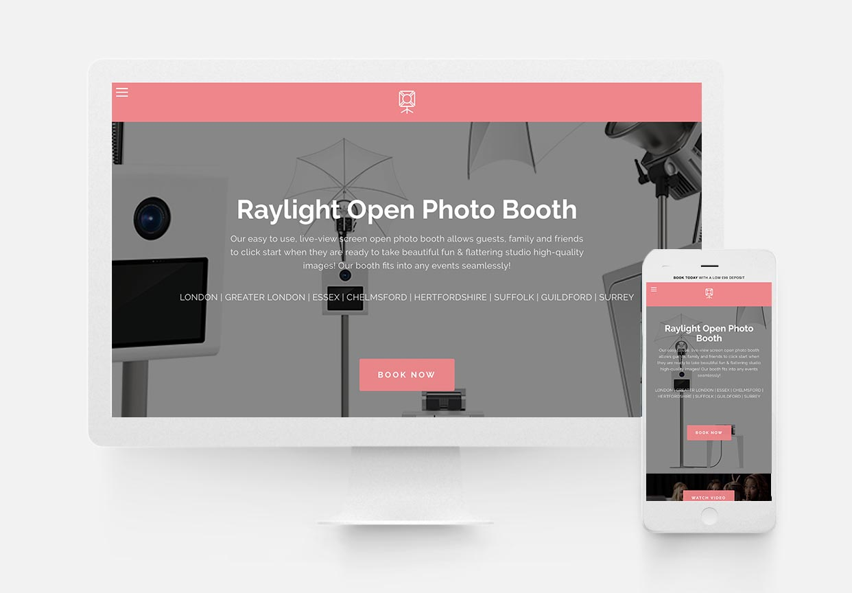 Raylight Photo Booth - Photo Booth Website Design