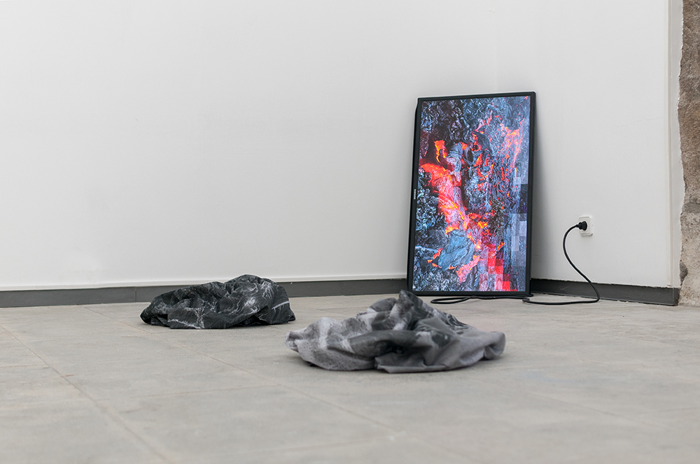 Magma Metadata  Installation View At Matter/Non_Matter Group Exhibition At MAH Museum, Azores. Curated By no.stereo and TAL Projects 2017, Gif on LCD, Screens, Dye on Synthetic Sail