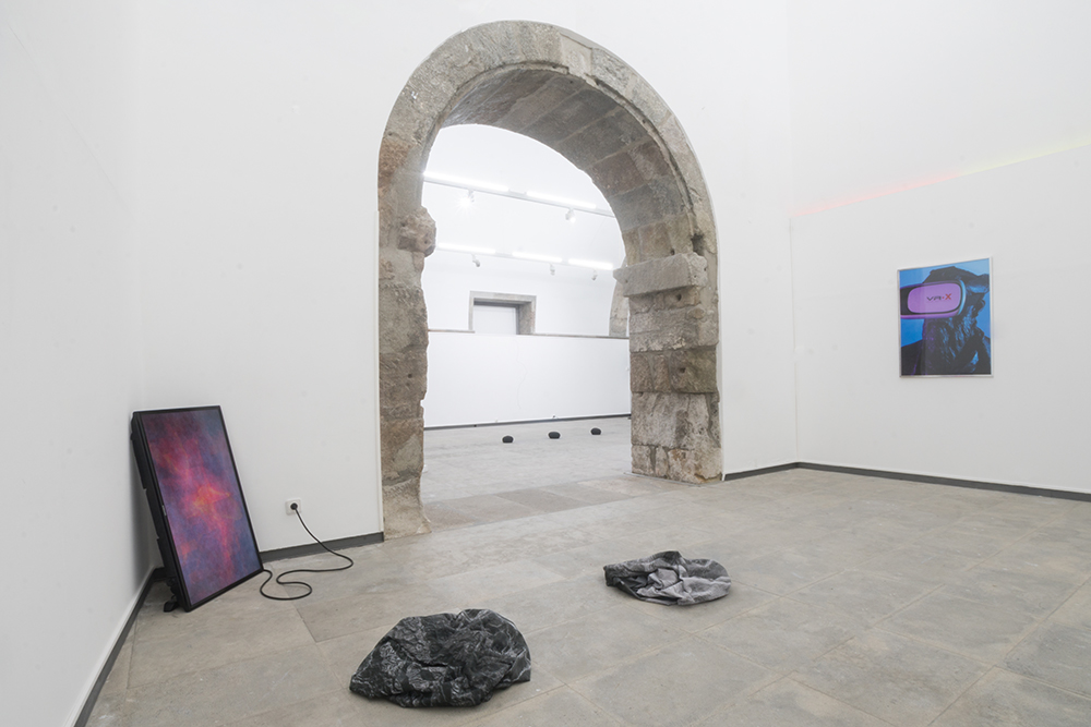 Matter / Non_Matter  Installation View At MAH Museum, Azores (Right Ivan Divanto) Curated By no.stereo and TAL Projects 2017, Gif on LCD, Screens, Dye on Synthetic Sail