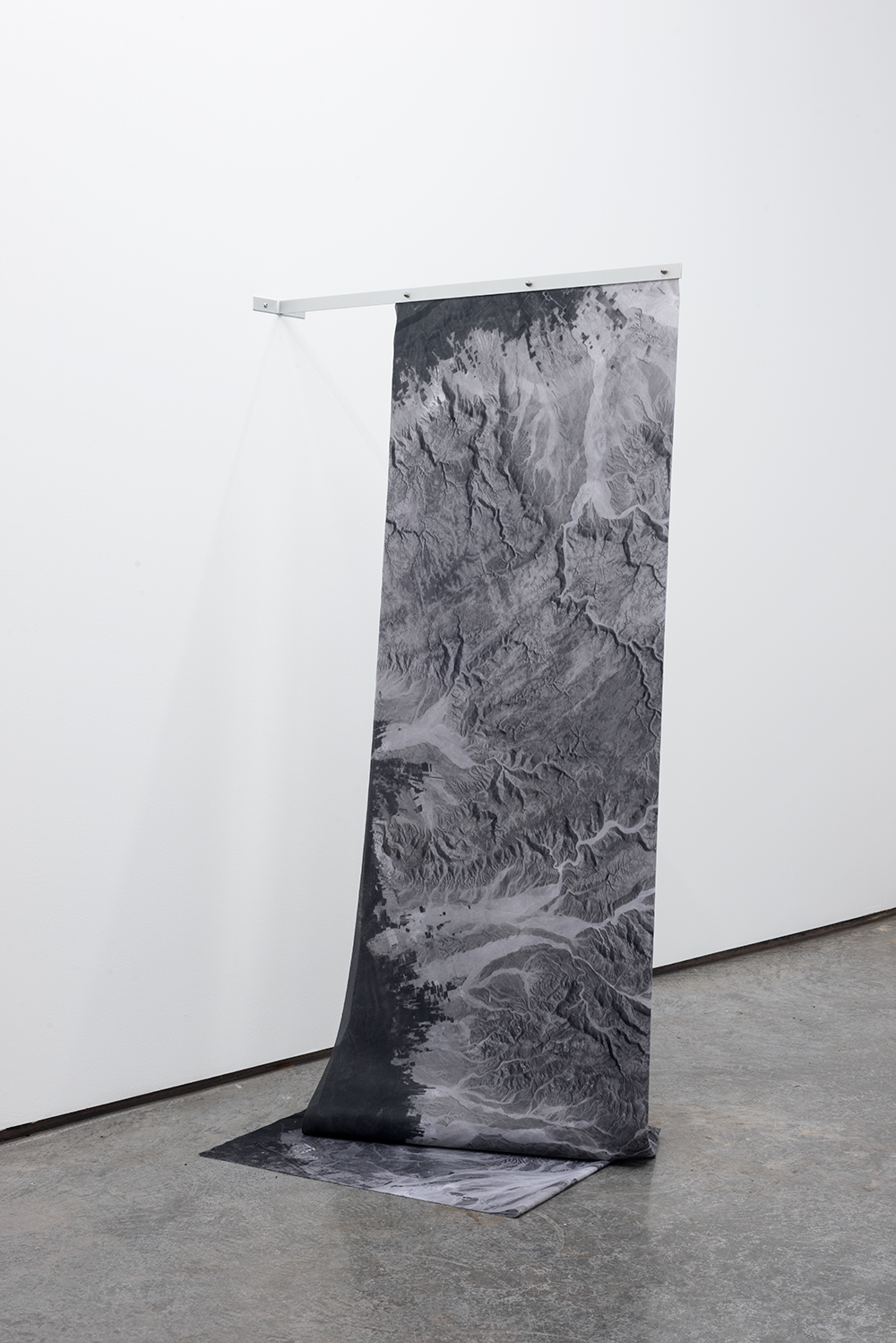 Territorial Skin  Installation View At Hawaii - Lisbon 2017, Dye on synthetic sail, Aluminium, hardware, Variable Dimensions