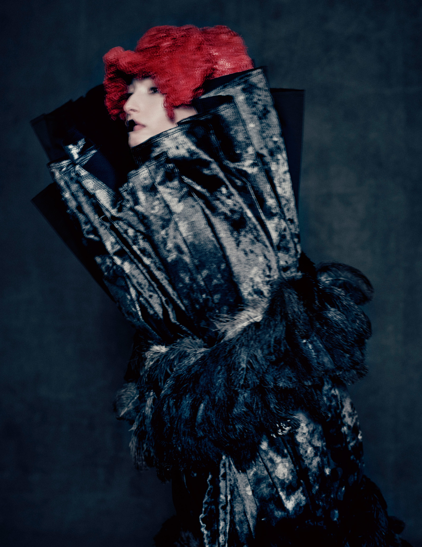 """Paolo Roversi/Comme des Garçons/The Metropolitan Museum of Art Publicity photo for Kawakubo's """"Blue Witch"""" collection, spring/summer 2016"""