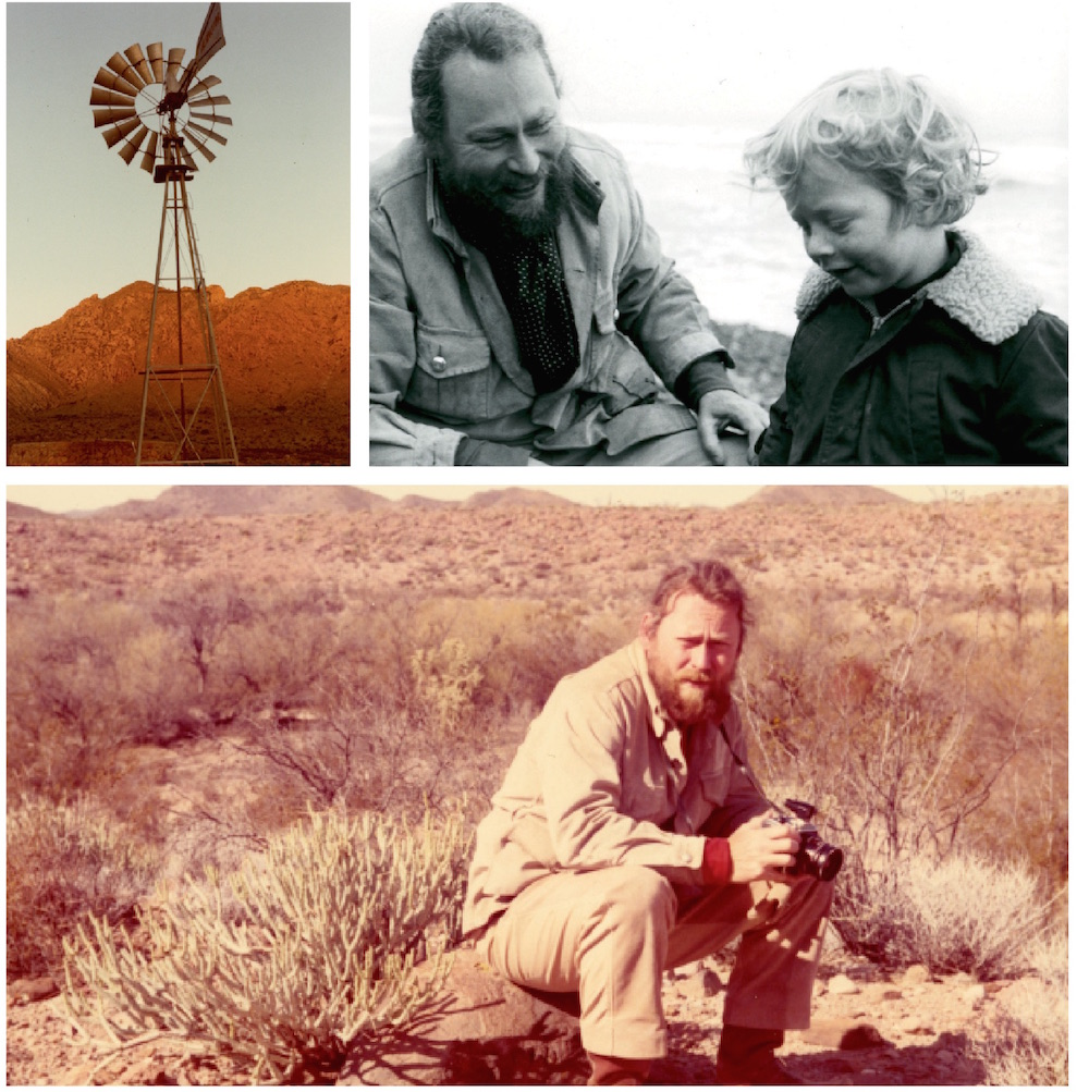 CLOCKWISE FROM TOP LEFT: CASA MORALES WINDMILL, EARLY 1980S. DON AND FLAVIN, MARFA, 1971. SOUTHERN CALIFORNIA, 1970. ALL PHOTOS: JAMIE DEARING-JUDD FOUNDATION ARCHIVES/© JUDD FOUNDATION.