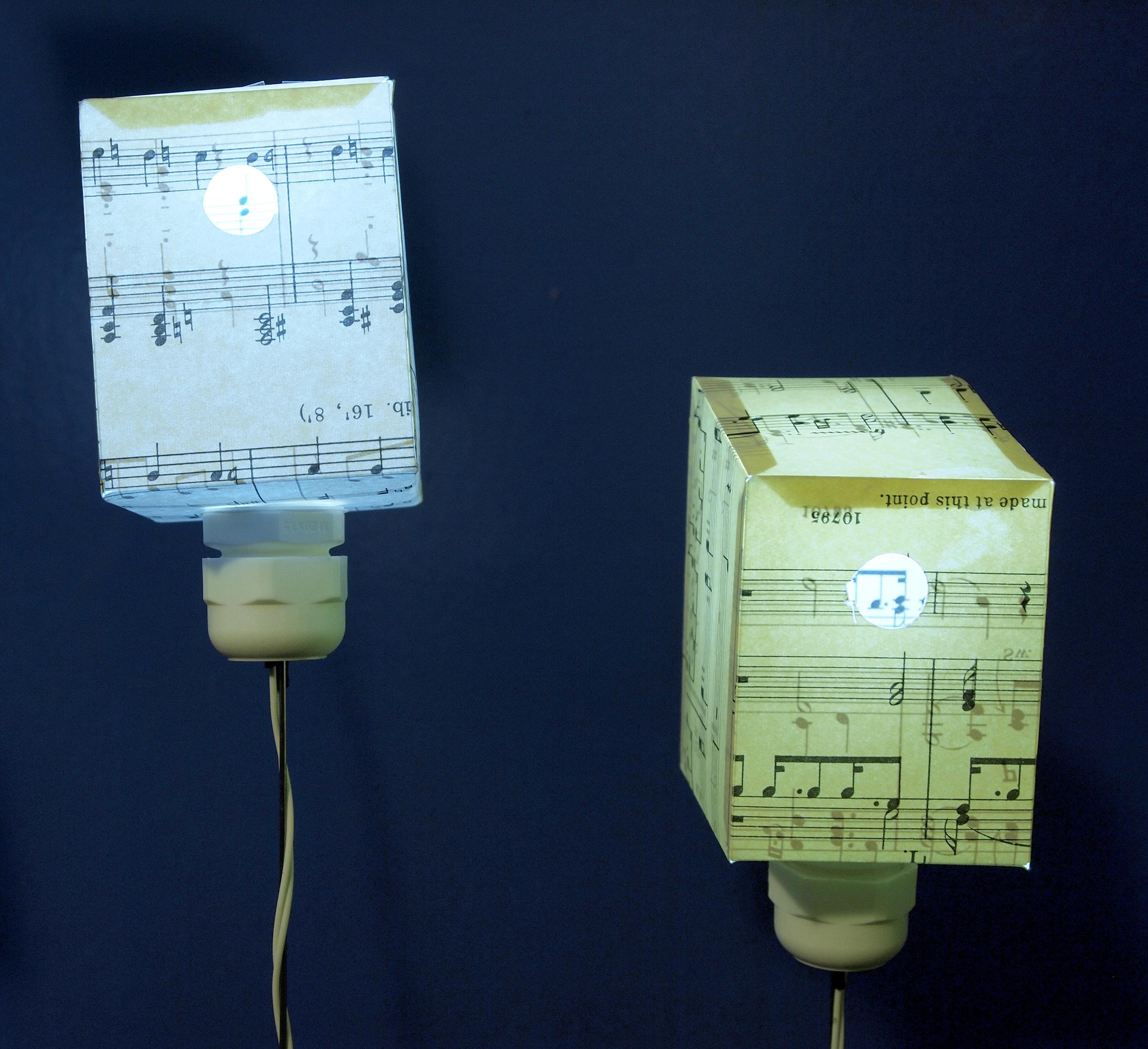 making notes, two illuminated birdboxes