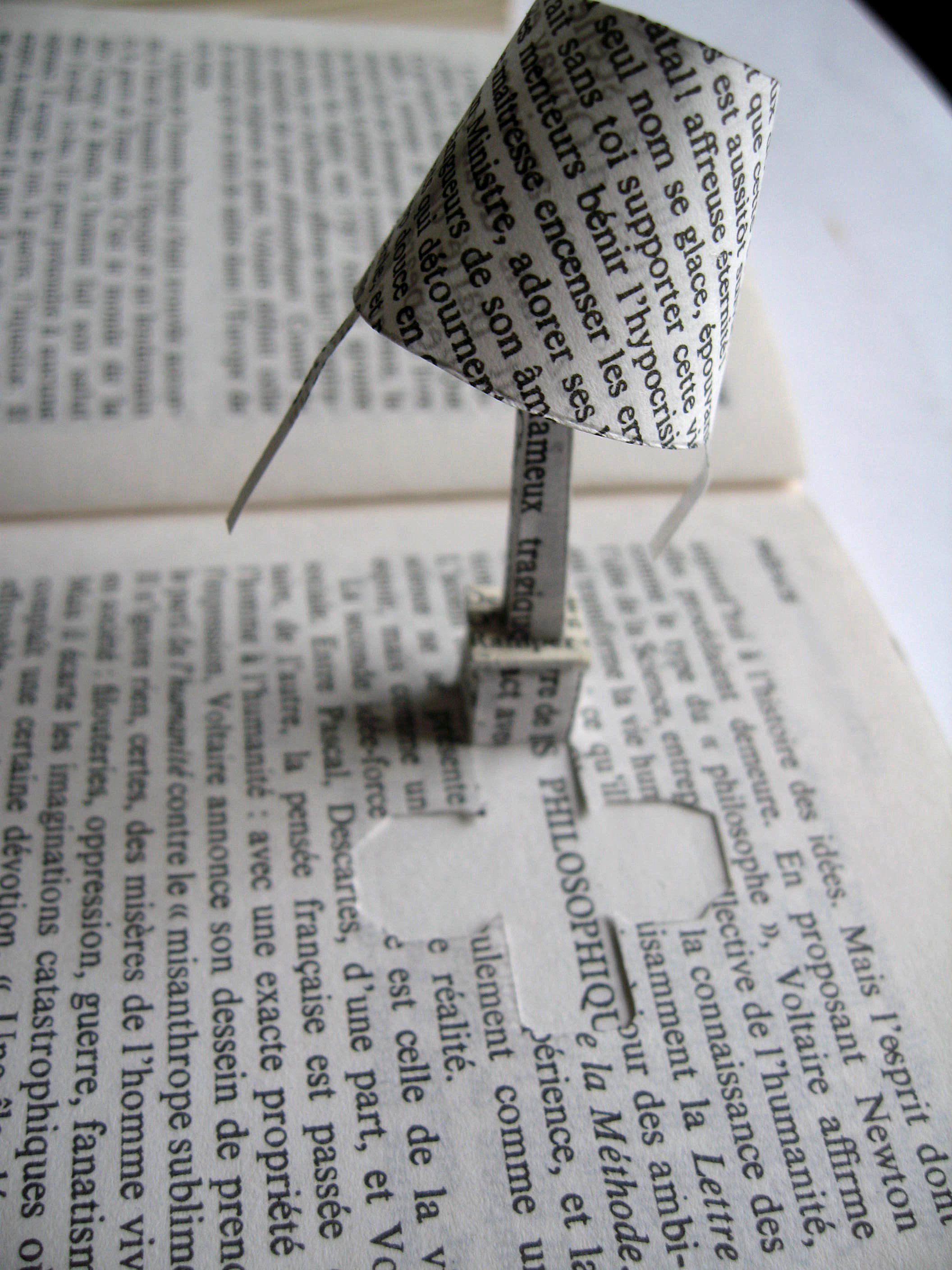 a few words, altered book, lamp