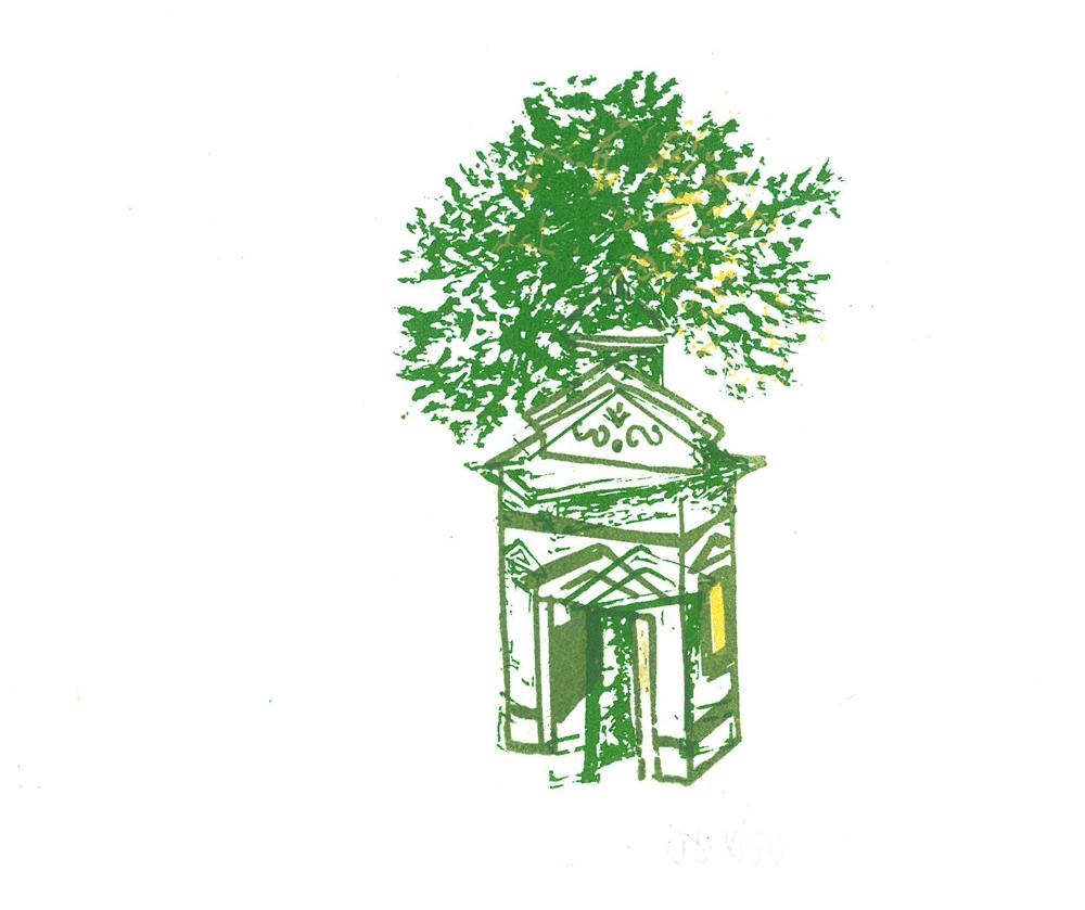 tree, monkey and paviliion