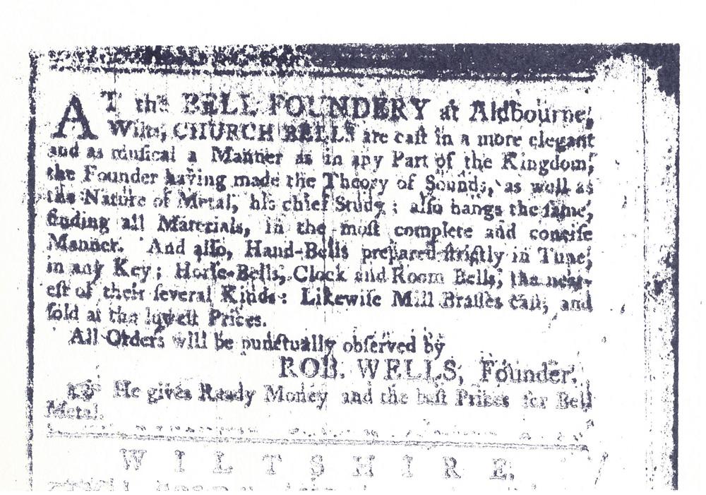 advertisement bell foundry, Robert Wells, 18th century