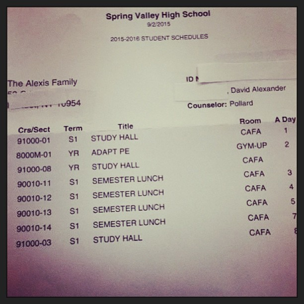 Mrs. Alexis received this schedule for her son this morning.  This is beyond OUTRAGEOUS.