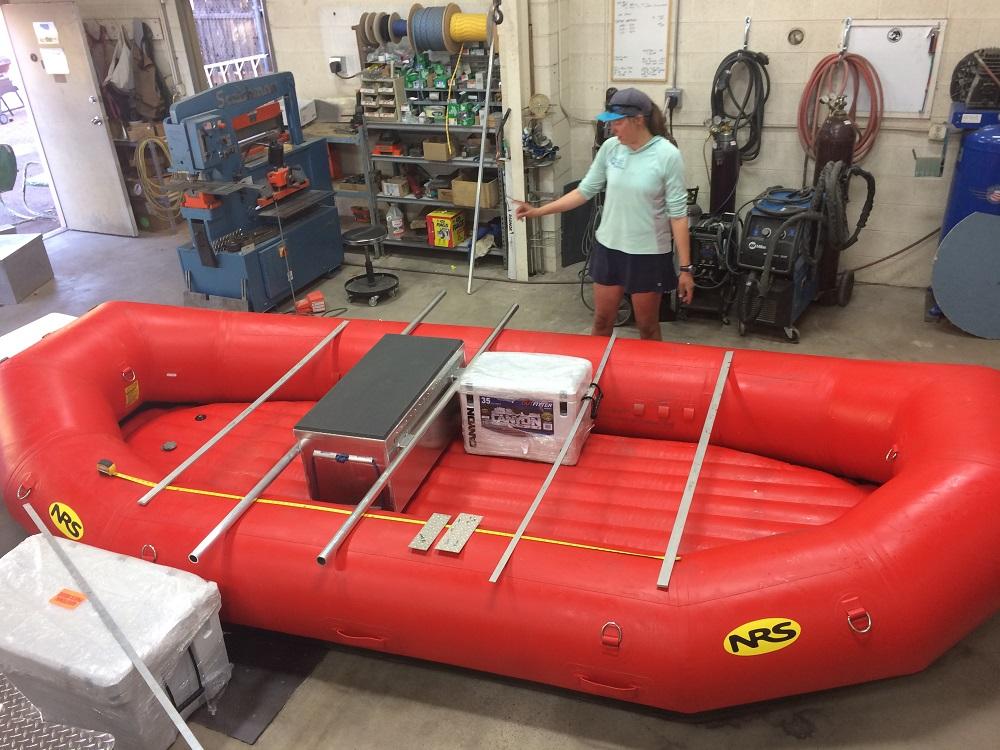measuring an e-160 raft for a frame