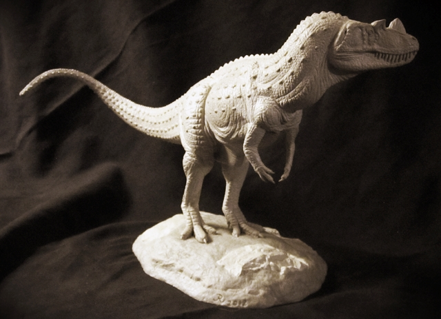 A 1/20th scale model of the Jurassic age  Ceratosaurus  that I sculpted.