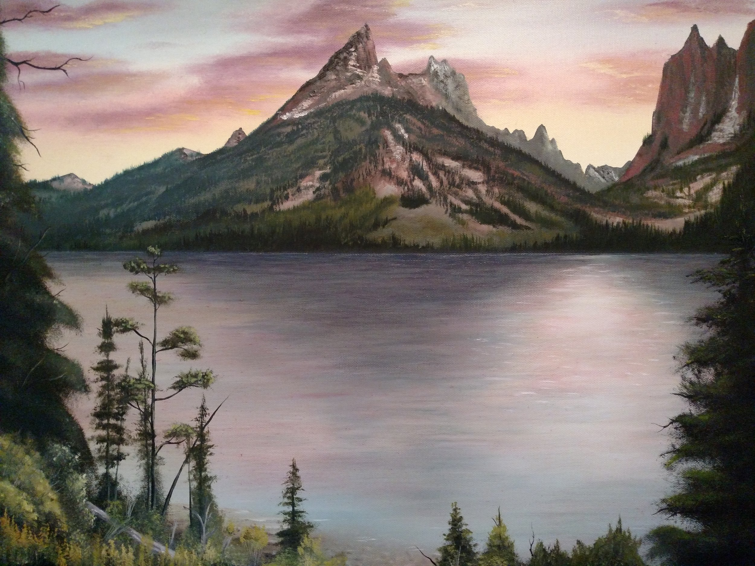 View of the Tetons across Jenny Lake. Oil on canvas.