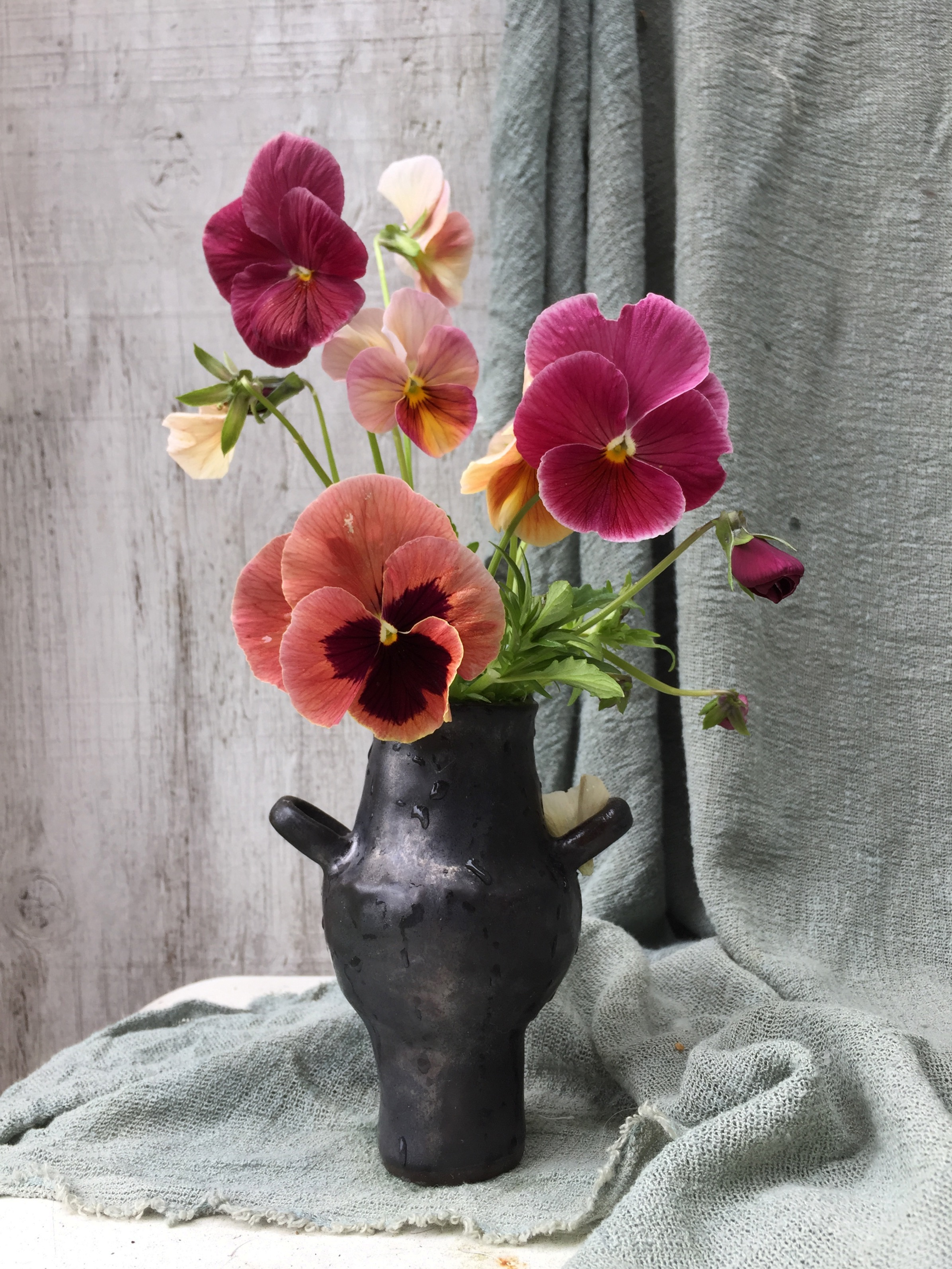 Pansies in a Wet Vessel