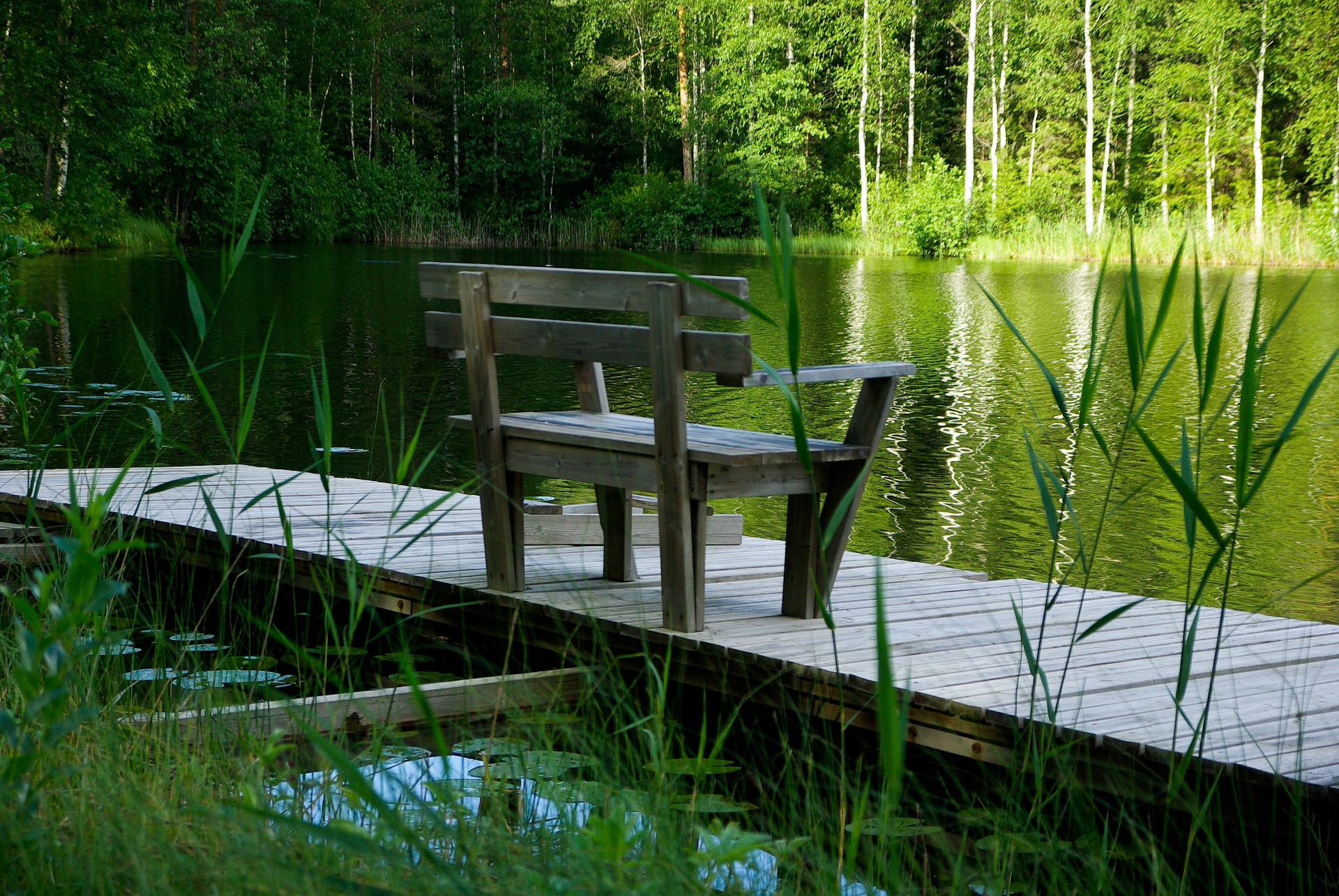""""""" Finland, Lake, Bench """" by  Jacqueline Macou  is  public domain ."""