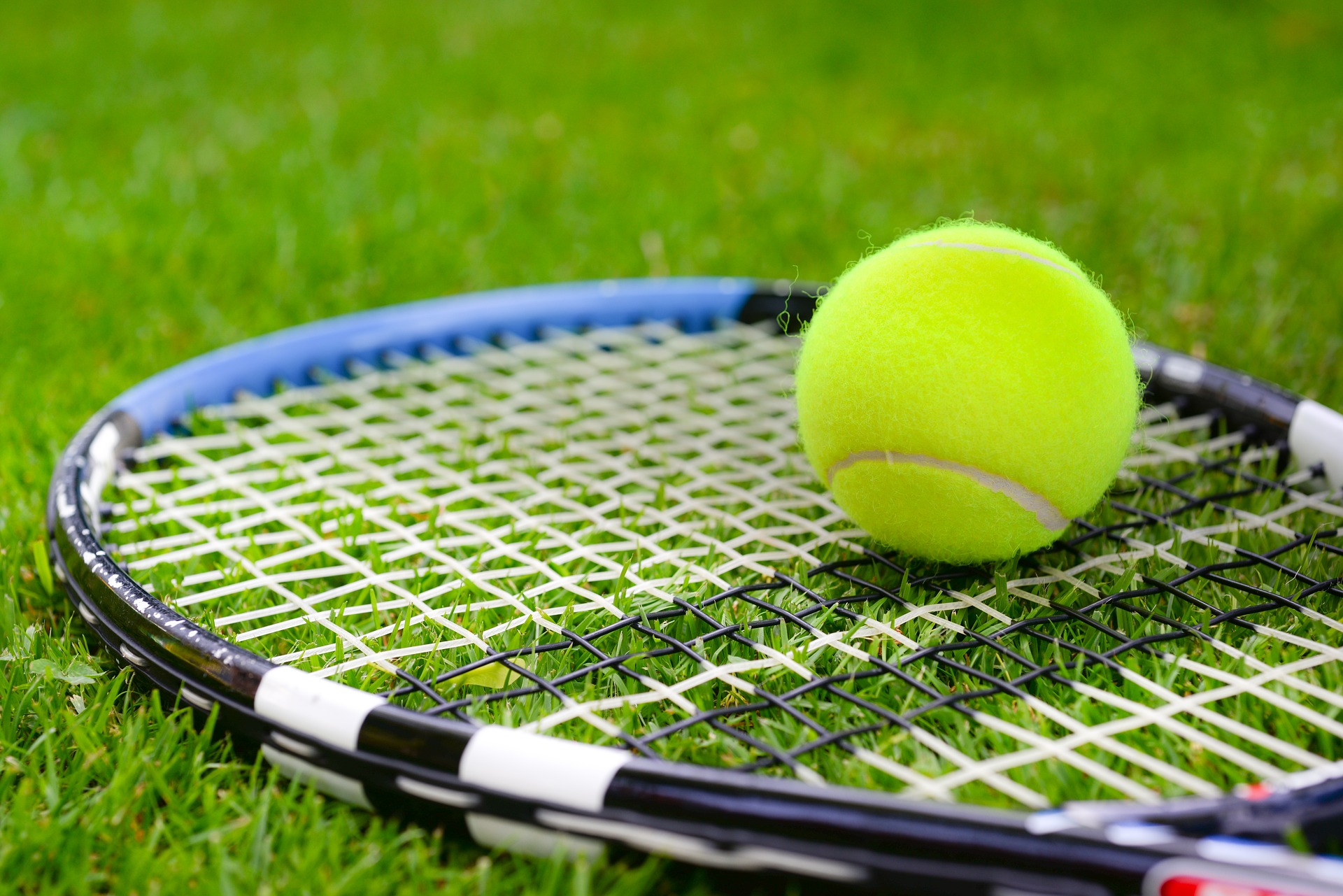 """"""" Tennis, ball, racket, sports, game """" by  Rudy and Peter Skitterians  is  Public Domain ."""