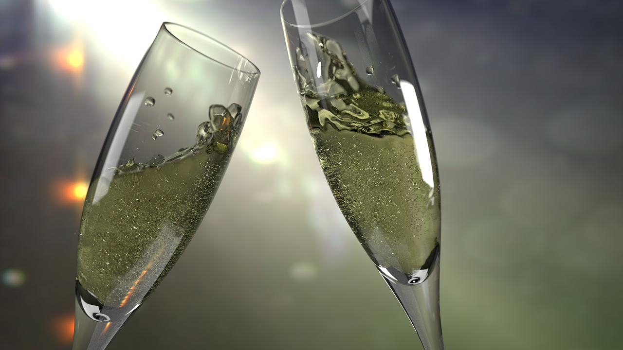 """"""" Cup, Glass, Šanpanské """" by  Peter Holec  is  Public Domain ."""
