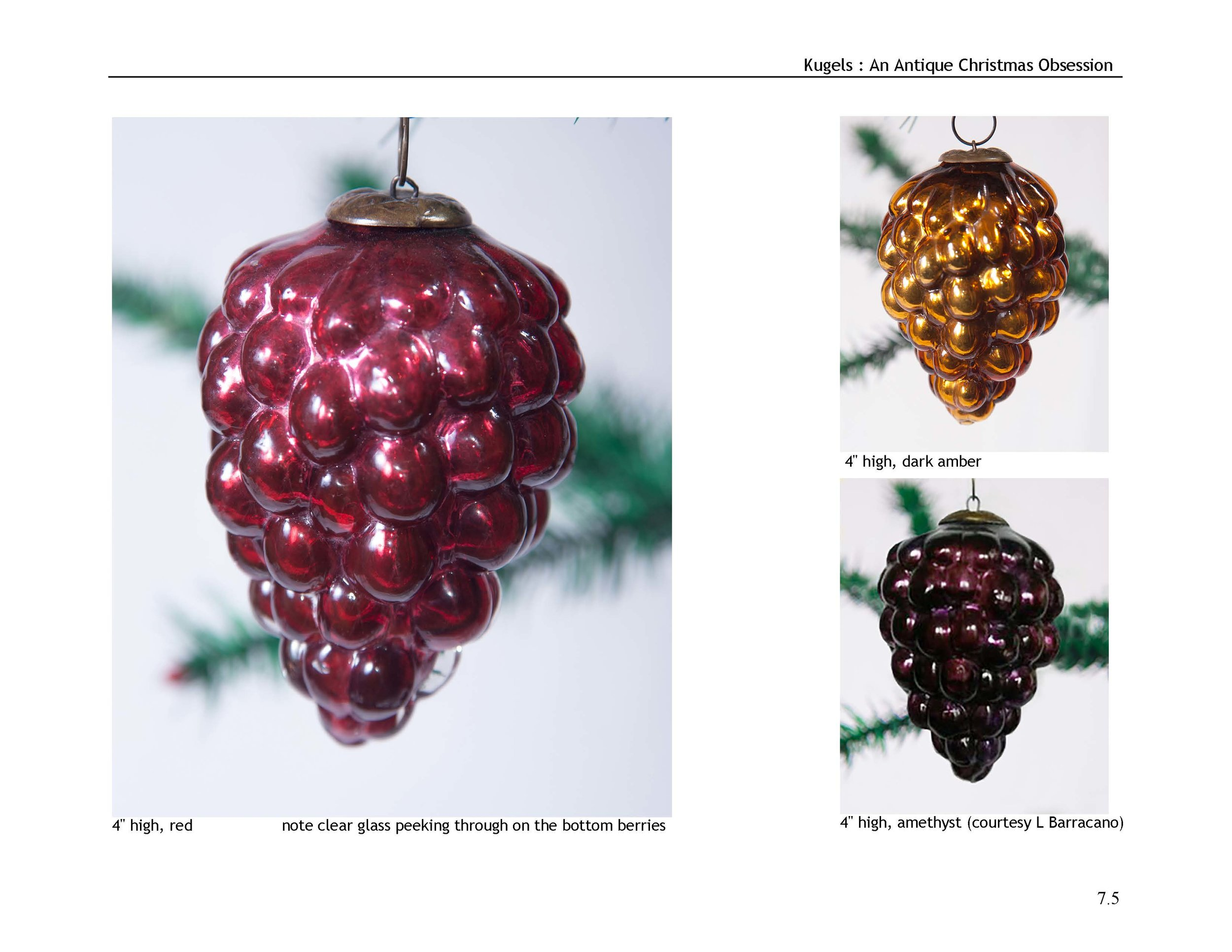 Antique kugel Christmas ornaments known shapes and sizes
