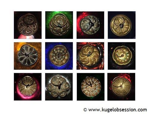 Antique kugel Christmas ornament authentic cap designs