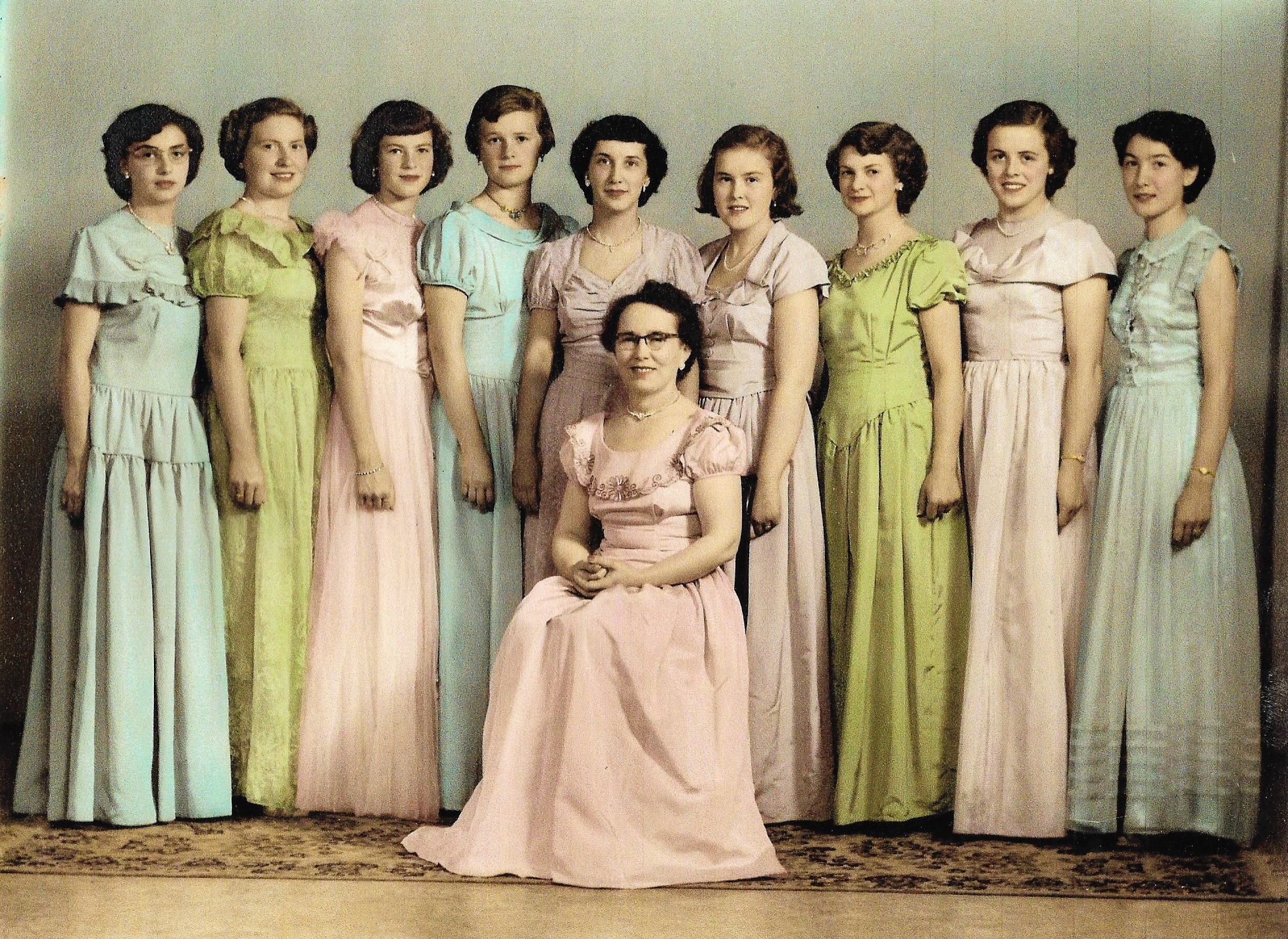 Cupidores 1950 Left to right in the photo:  Donelda Jackson, Betty Wray, Sandra Nickel, Marion Burns, Jean Askin, Audrey VanCamp, Billie McNeelands, Glenna Scott, Marie McCallum. Bessie Jobb (seated).