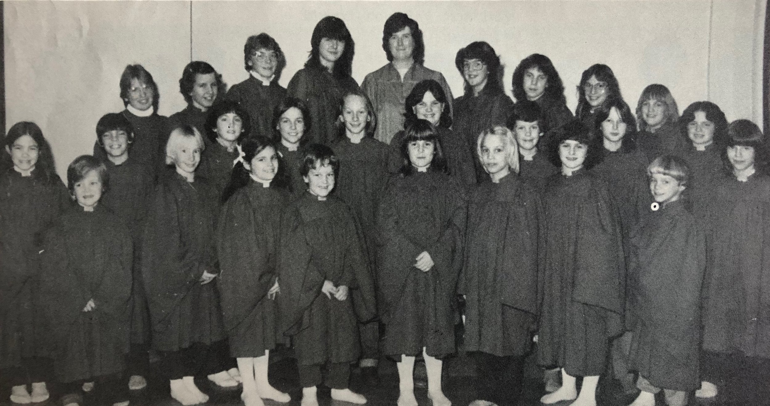 Junior Choir 1982 Back Row L-R:  Jackie Aitchison, Elizabeth Johnston, Jill Bender, Carol Theodorf, Marion Bristowe (Director), Mary Lynn McCutcheon, Sherry Stewart, Julie Williamson, Julie Crummer  Middle Row:  Lori McCutcheon, David Stewart, Stephanie Bradley, Kendra Crummer, Lisa Rozendal, Lisa Smith, Larry Doan, Tracy Bristowe, Jennifer Corry  Front Row : Jimmie McCutcheon, Kelly Rozendal, Shannon Turner, Brian Courtney, Lisa Williamson, Patty Schinbein, Heather Hood, Stephanie Schinbein, Terry Bristowe