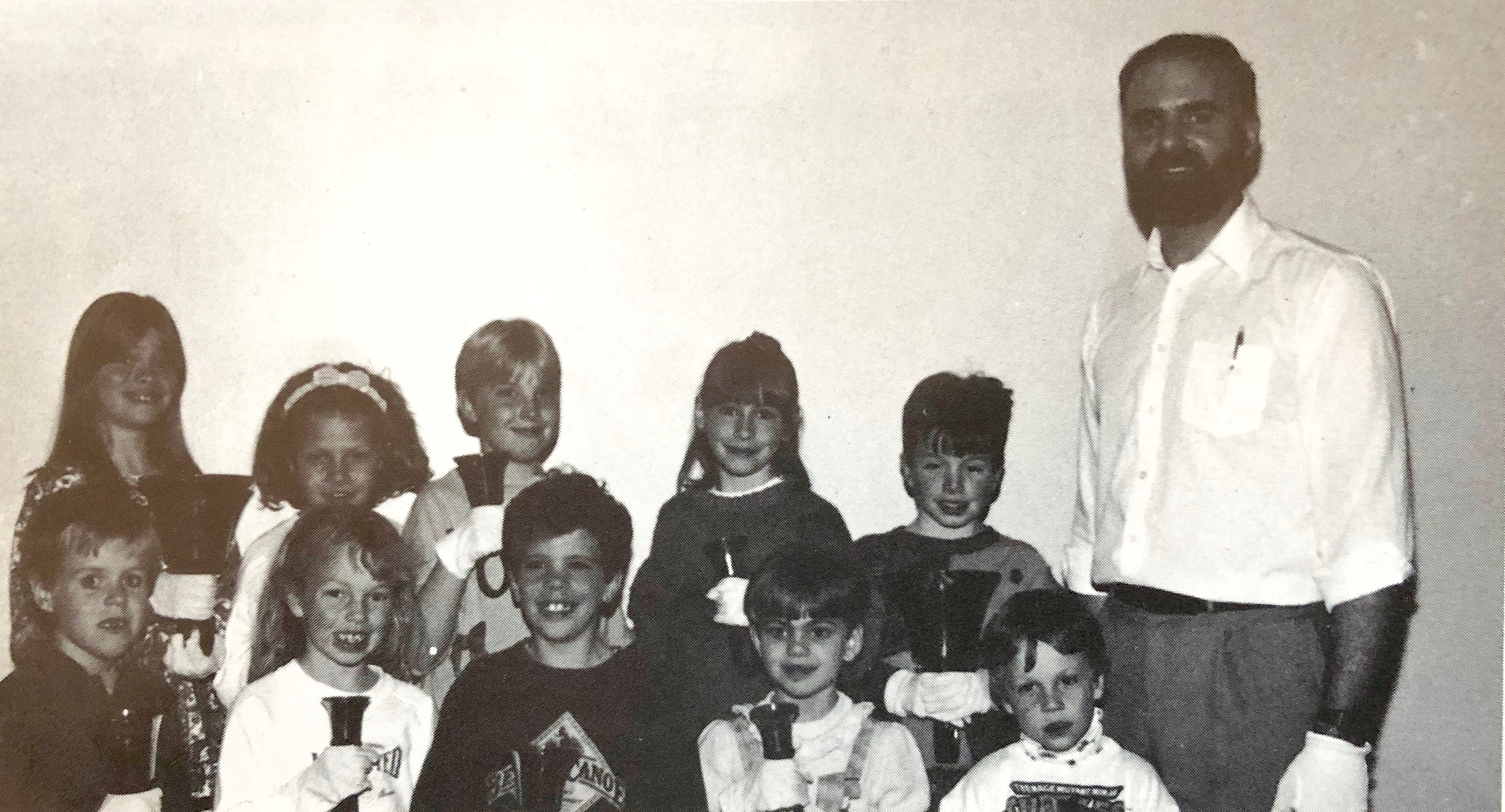 Hand Bells 1991 – Children's Group Back row L-R:  Amanda Boneschansker, Sheilina Fletcher, Lori Olson, Melissa Boneschansker, Andrew Knowlton Gordon Galbraith (Director)  Front row:  Ryan Pettit, Nadine Fletcher, Nathan Parkhouse, Stephanie Galbraith, Justin Fletcher
