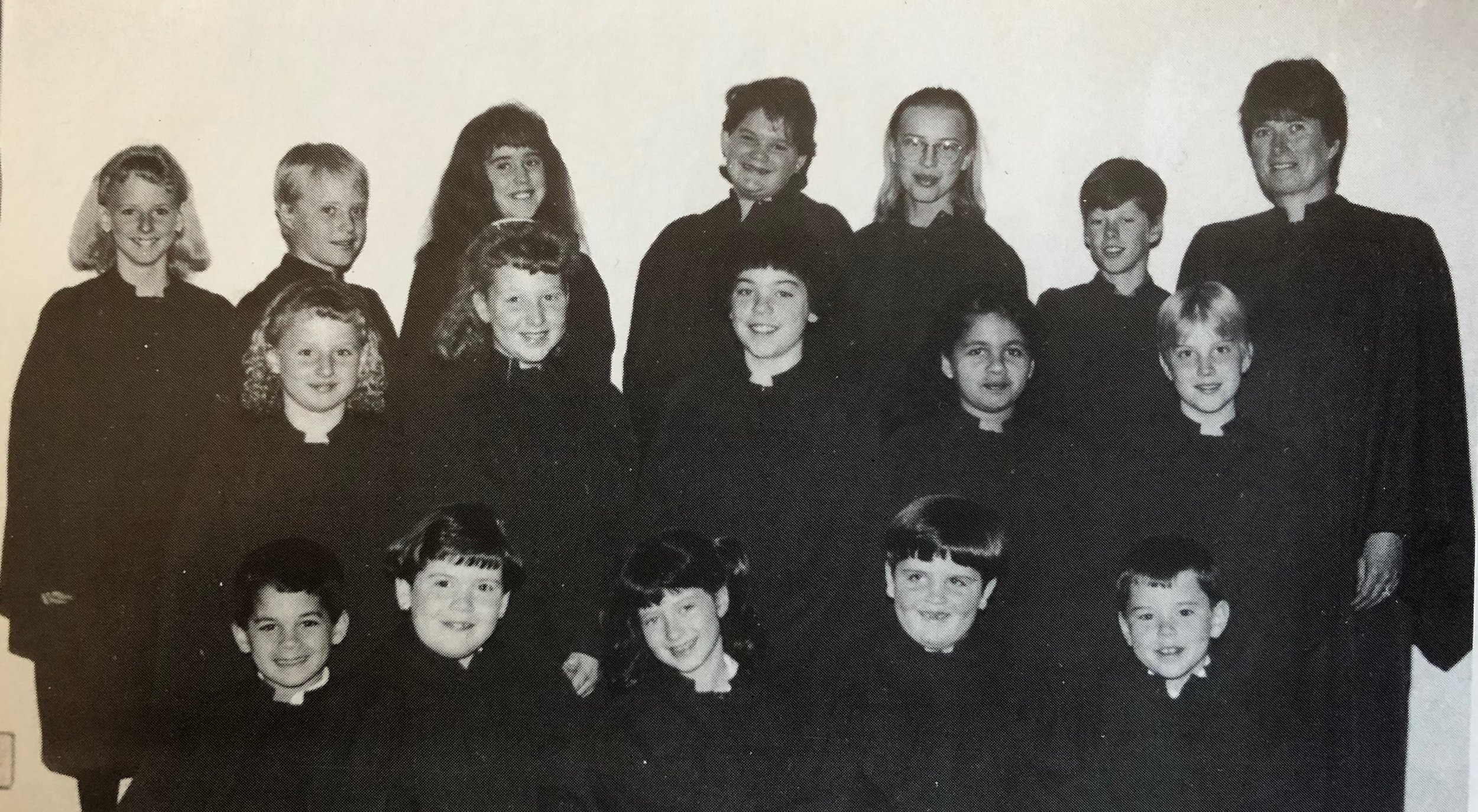 Junior Choir 1992 Back Row L-R:  Ashley Miller, Douglas Olson, Christine Cleland, Amy Porter, Lisa Olson, James Bristowe, Marion Bristowe (Director)  Middle Row L-R:  Carly Miller, Crystal Orth, Robyn Sage, Melissa Bahadoor, Lori Olson  Front Row L-R:  Joe Bahadoor, Heather Johnston, Kelly Bristowe, Nicole Kaufman, Stewart Skinner