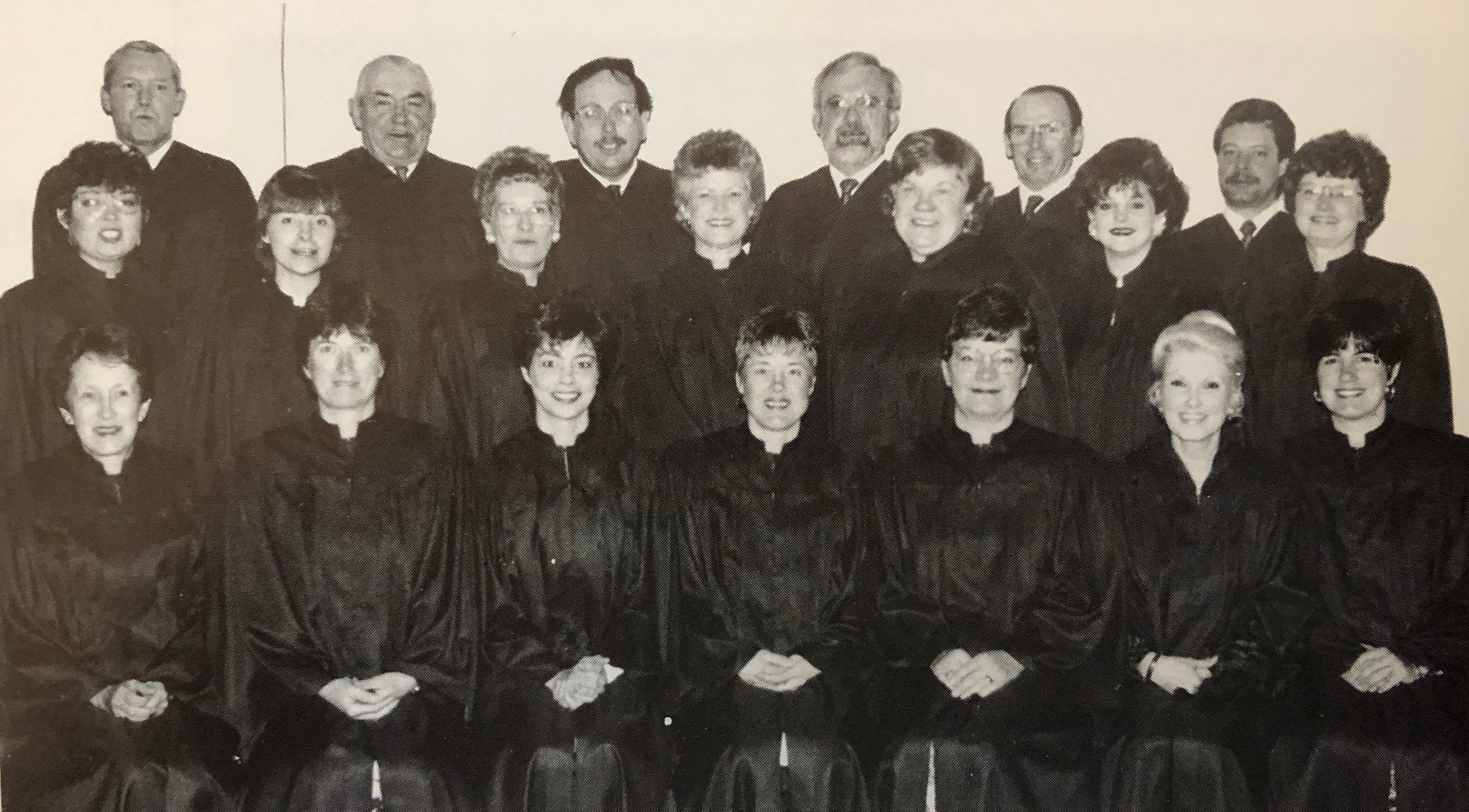 Knox Choir 1992   Back Row L-R:  Jim Henderson, Sam Johnston, Jim Walker, Don Fischer, Charles Corry, Ron Berlett  Middle Row L-R:  Brenda Kaufman, Betty Anne Olson, Lois Aitchison, Sandra Arlein, Marcie Johnston, Lori Henderson, Ethel Corry  Front Row L-R:  Marlene Henderson, Marion Bristowe, Virginia Rushton, Darlene Galbraith, Jean Fischer, Pat Sharpless, Lynn Kerr