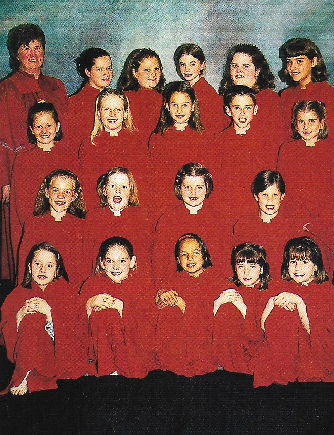 Junior Choir 1999 Back Row L-R:  Marion Bristowe (Director), Kelly Bristowe, Cory Newbigging, Jennifer Knowlton, Nicole Kaufman, Julie Burns  3rd Row L-R:  Becca Newbigging, Lauren Johns, Alicia Lockie, Donald Skinner, Abbey Newbigging  2nd Row L-R:  Karli Purcell, Terri Brown, Natalie Robinson, Brittany McDonald  Front Row L-R:  Tiffany Newbigging, Mallory Martin, Brittany Bahadoor, Jessica Johnson, Torie Clarke