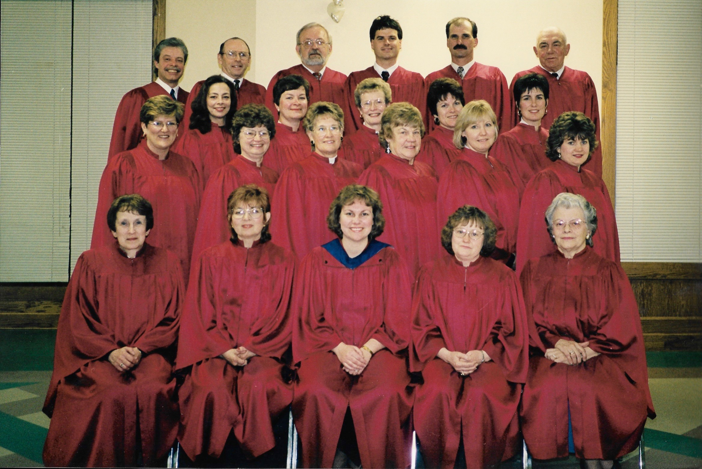 Knox Choir 1997   Back row L-R:  Ron Berlett, Charlie Corry, Don Fischer, Ron Lockie, Paul Karges, Sam Johnston  3rd row L-R:  Virginia Rushton/Spence, Jeanne Fischer, Deanne Cressman, Jean Jinkinson, Lynn Kerr  2nd row L-R:  Julie Newbigging, Ethel Corry, Lois Aitchison, Marcie Johnston, Laura Tryssenaar, Lee Anne Andriessen  Front row L-R:  Marlene Henderson, Brenda Kaufman, Agnes-Marie Lockie/Henderson (Director), Sandy Valley, Anne Moir-Johnson