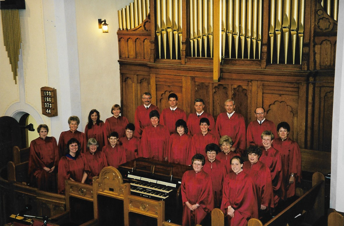Knox Choir 1999   Back Row L-R:  Marlene Henderson, Lois Aitchison, Virginia Rushton, Laura Tryssenaar, Don Harrison, Ron Lockie, Rae Fischer, Jim Henderson, Charlie Corry, Jean Jinkinson, Deanne Cressman, Michelle Hemingway, Jessica Robb  Front Row L-R:  Agnes Lockie/Henderson(Director), Grace Burrough, Brenda Kaufman, Patty Zurbrigg, Marion Bristowe, Lee Anne Andriessen, Lynn Kerr, Marcie Johnston, Ethel Corry, Sandy Valley