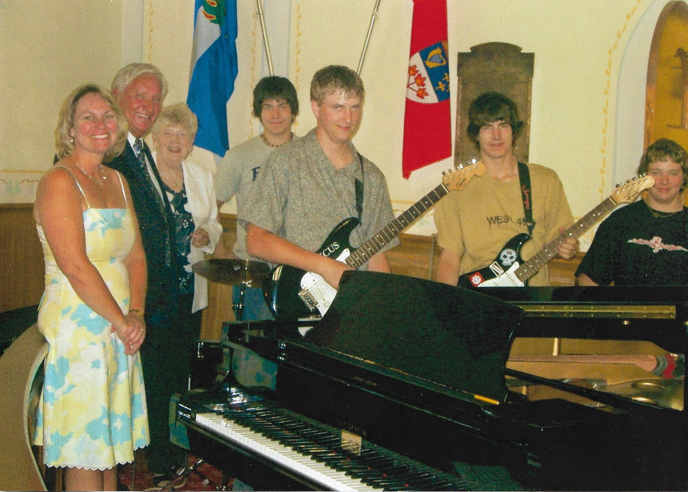 Praise Team & New Drum Set - June 26, 2005 L-R:  Agnes Henderson (Director), John Crawford, Marjorie Crawford, Andrew Kerr (drums), Dustin Hamilton (guitar), Tyler Kerr (guitar), Mitchell Dekker (bass guitar)   (Drums donated in memory of David Crawford).