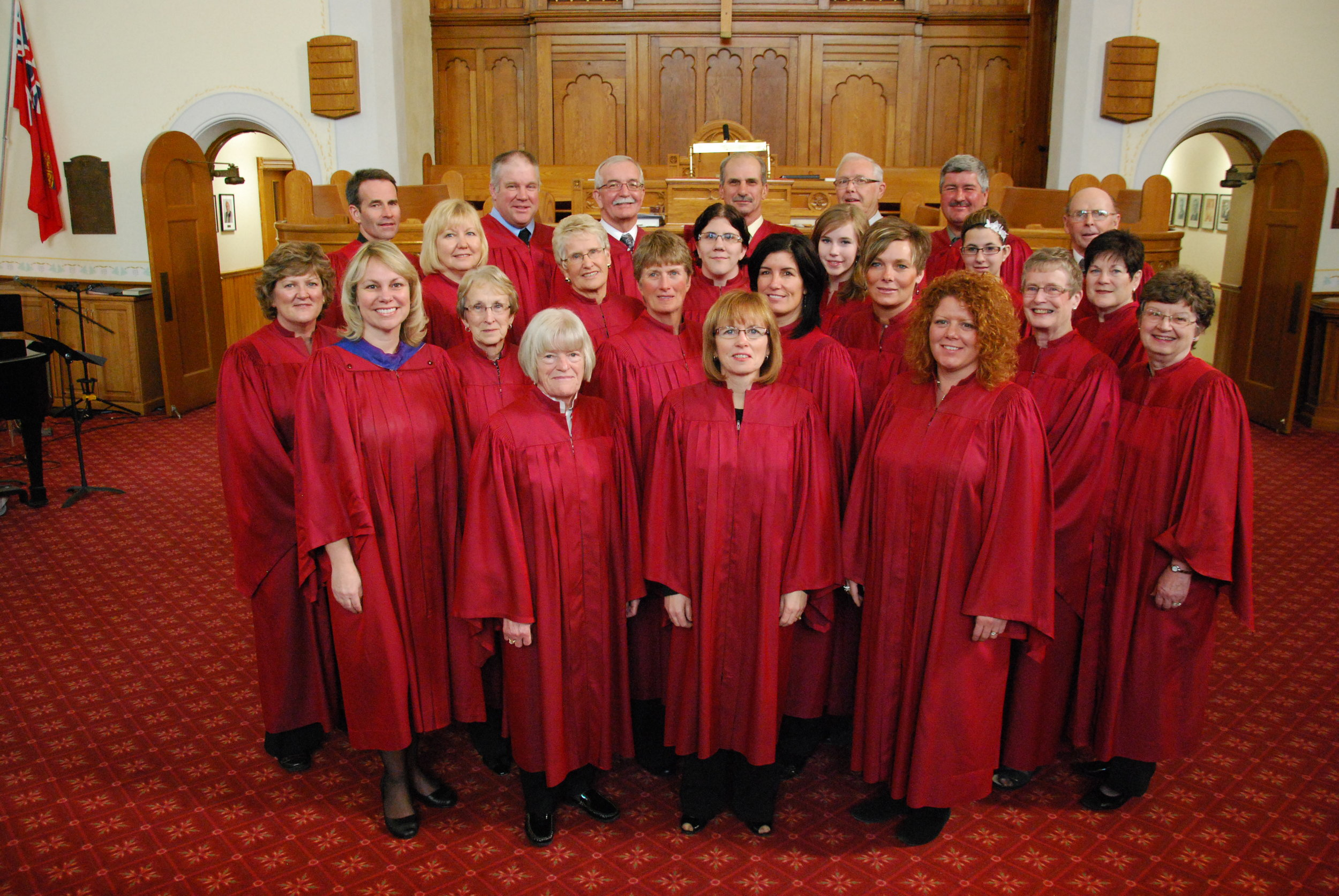 Knox Choir 2011   Back Row L-R : Larry Skinner, Doug Johston, Don Harrison, Paul Karges, Jim Henderson, Brian Hamilton, Charlie Corry  3rd Row L-R:  Julie Newbigging, Laura Tryssenaar, Lois Aitchison, Jessica Drummond, Kathleen Skinner, Stephanie Hamilton, Jean Jinkinson  2nd Row L-R:  Agnes Henderson (Director), Marlene Henderson, Marion Bristowe, Lynn Kerr, Jill Reading, Deanne Cressman, Ethel Corry  Front Row L-R:  Grace Burrough, Nancy Skinner, Michelle Hemingway