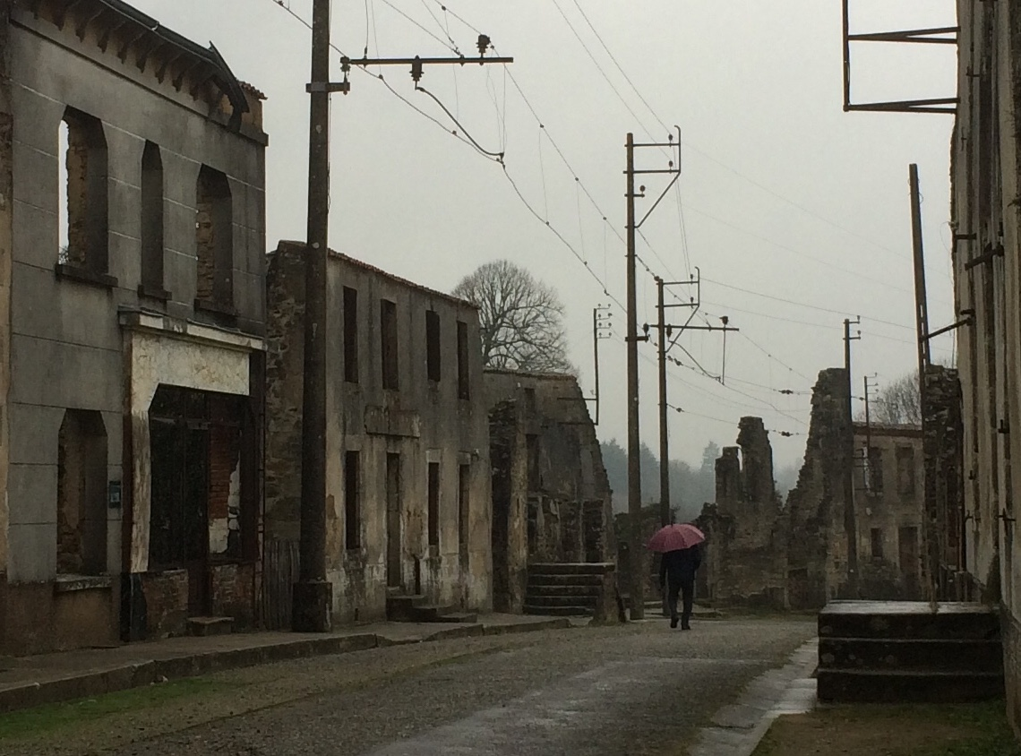 Lone figure, Oradour-sur-Glane, January 2019