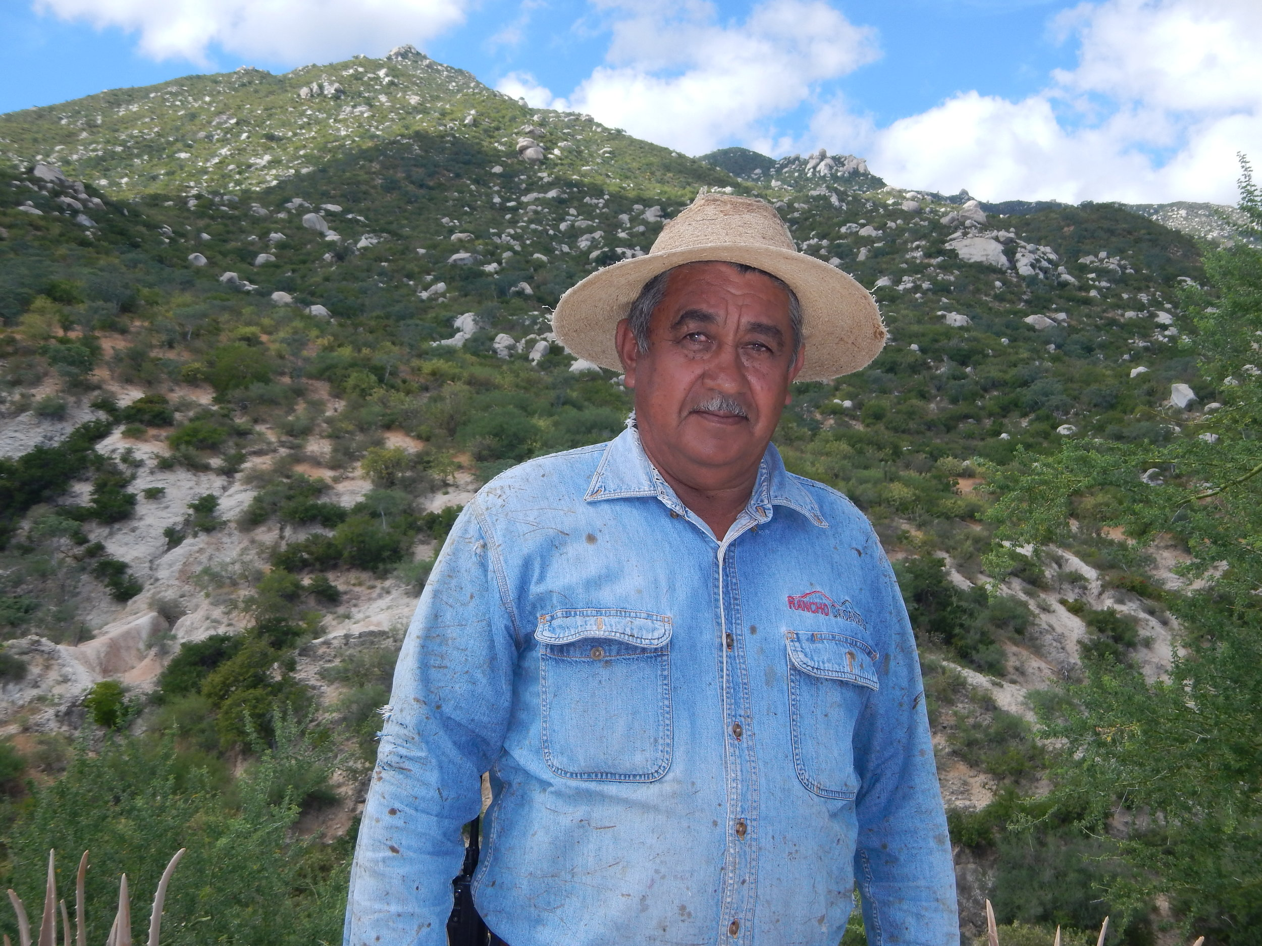 Adolfo Aviles Geraldo   The eldest vaquero, he is full of knowledge of the land and has taught us about the water sources on the ranch. He is in charge of having these water sources connected through a hose network to the different paddocks so the cattle have enough water to drink.