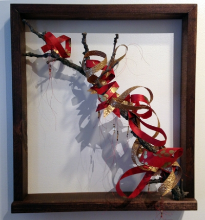 Chinese Brush Painting: Blossom Red (Private Collection), handmade Nepalese lokta paper, branches, wood, metallic thread, beads