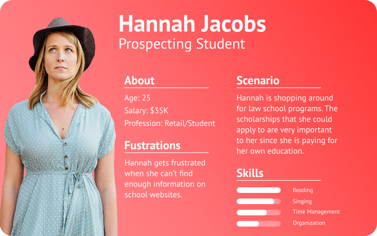 Persona #2 - Scenario's like Hannah's allowed me to focus on important information like scholarships, which was not easily found on the current website.