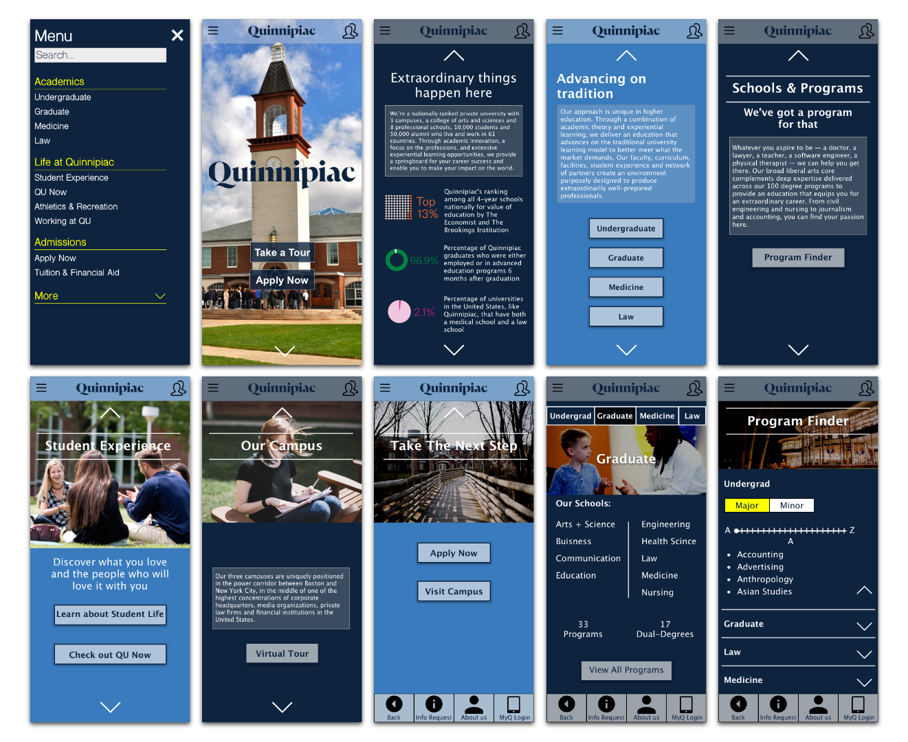Mid Fidelity Prototype - With my findings in my usability tests, I conducted a rapid prototype for my Quinnipiac University app. Without graphics in mind, I ended up with an interactive application that I could test more extensively in usability tests.