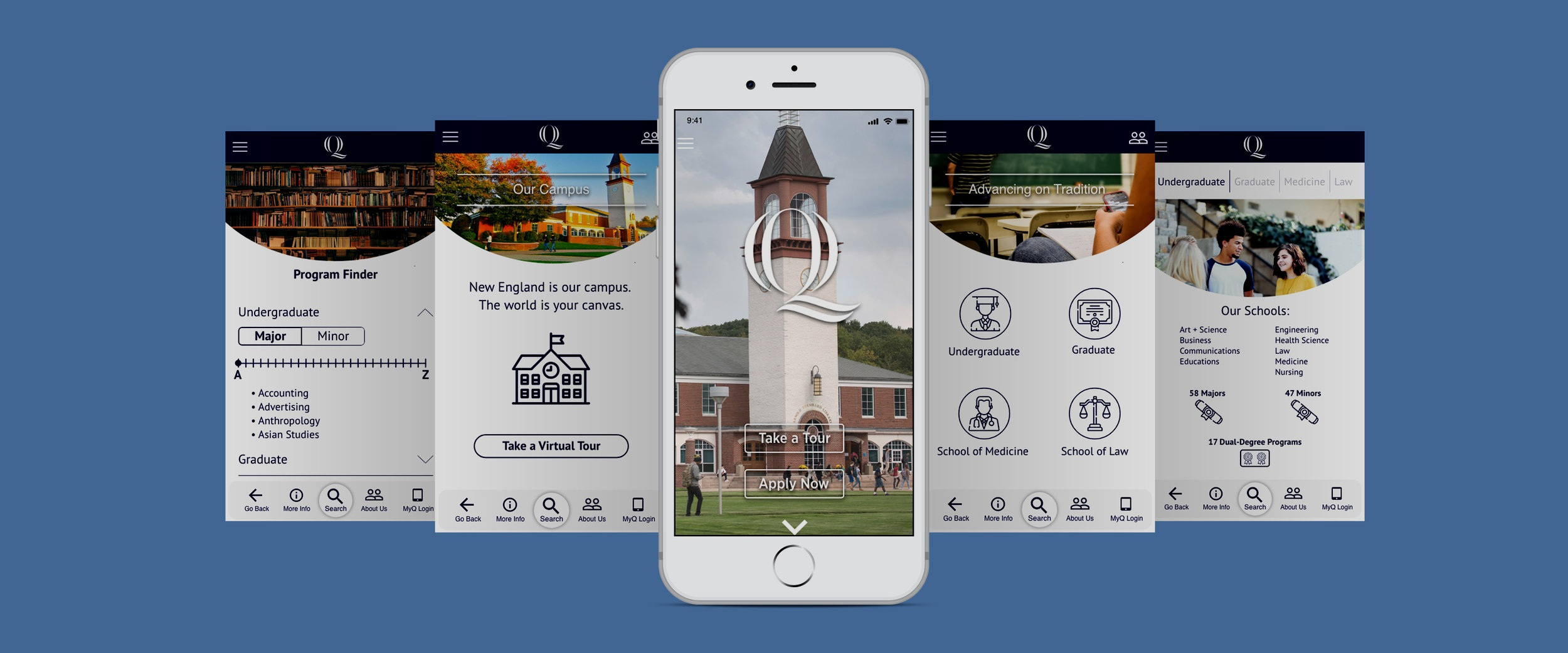 Quinnipiac Mobile App Re-Design - Full Project