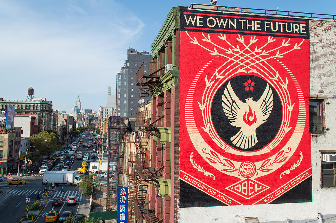 We Own the Future  by Shepard Fairey for  The L.I.S.A. Project NYC . New York, NY. 2014. Photo by Rey Rosa. (curator)
