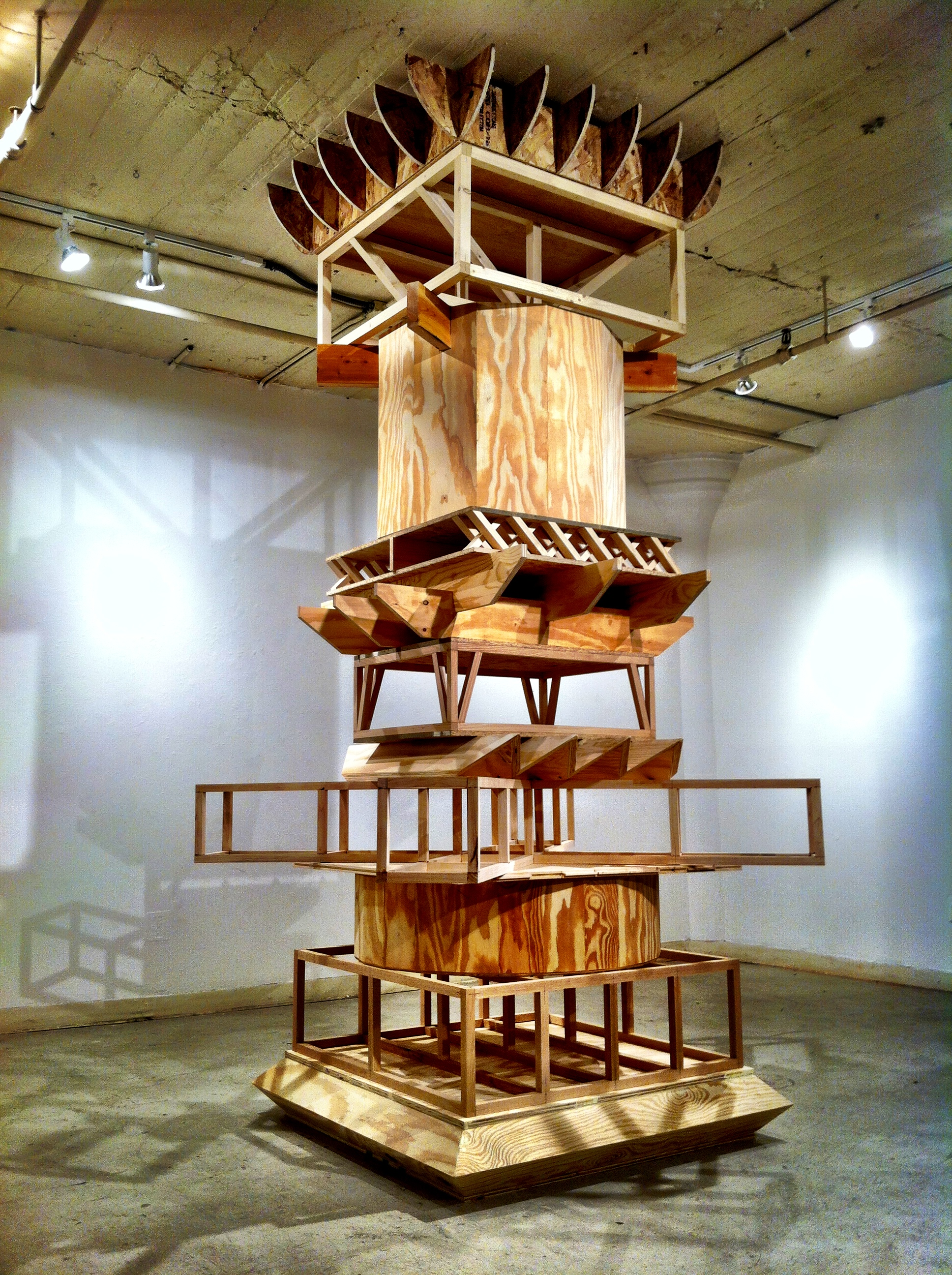 Column,  2014, Red Oak, Plywood, Pine, Maple, O.S.B  Dimension Variable