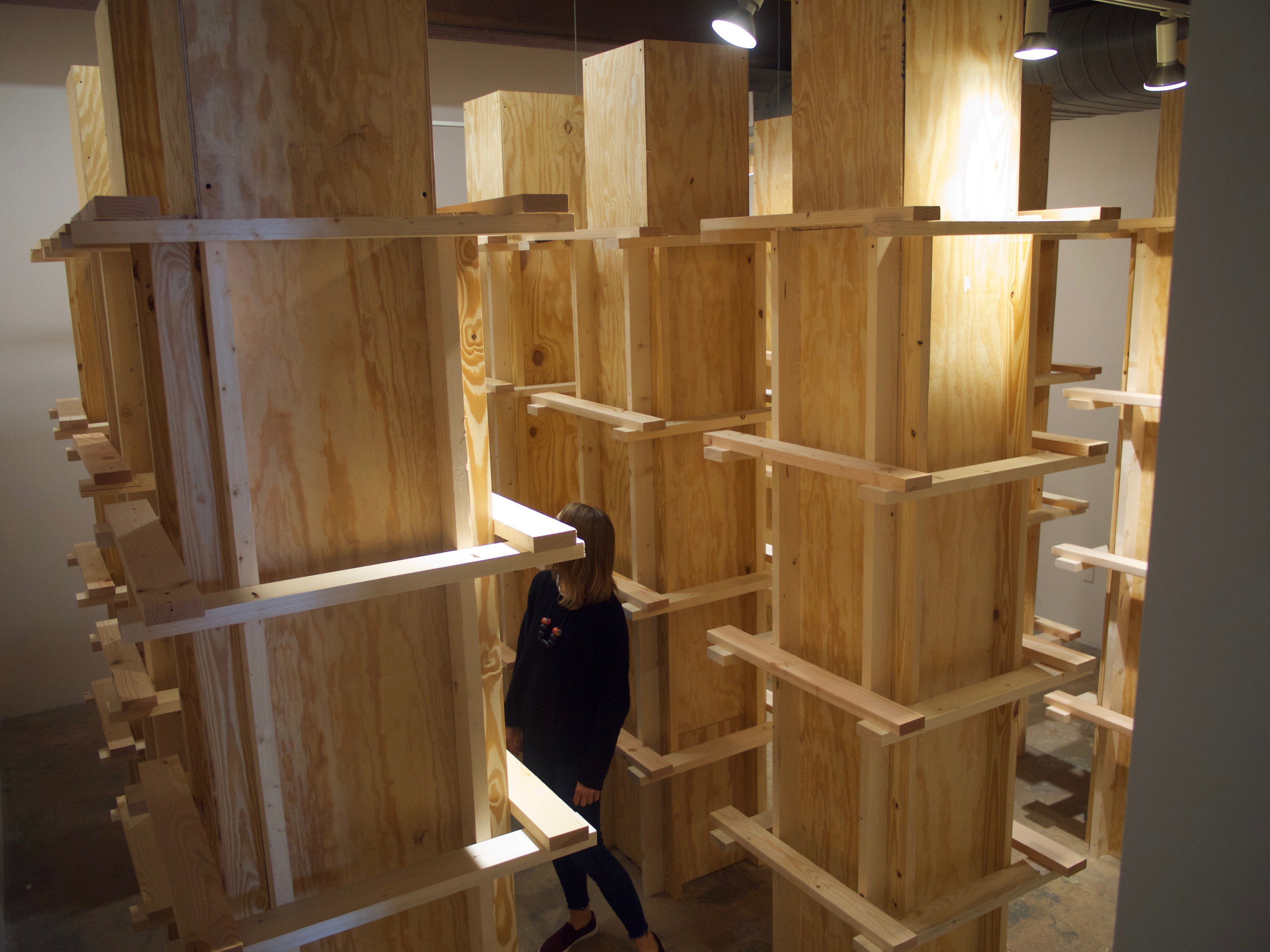 New Urbanism , 2018  Site Specific Installation, Pine, Plywood, Screws  Cube - VAE Raleigh N.C