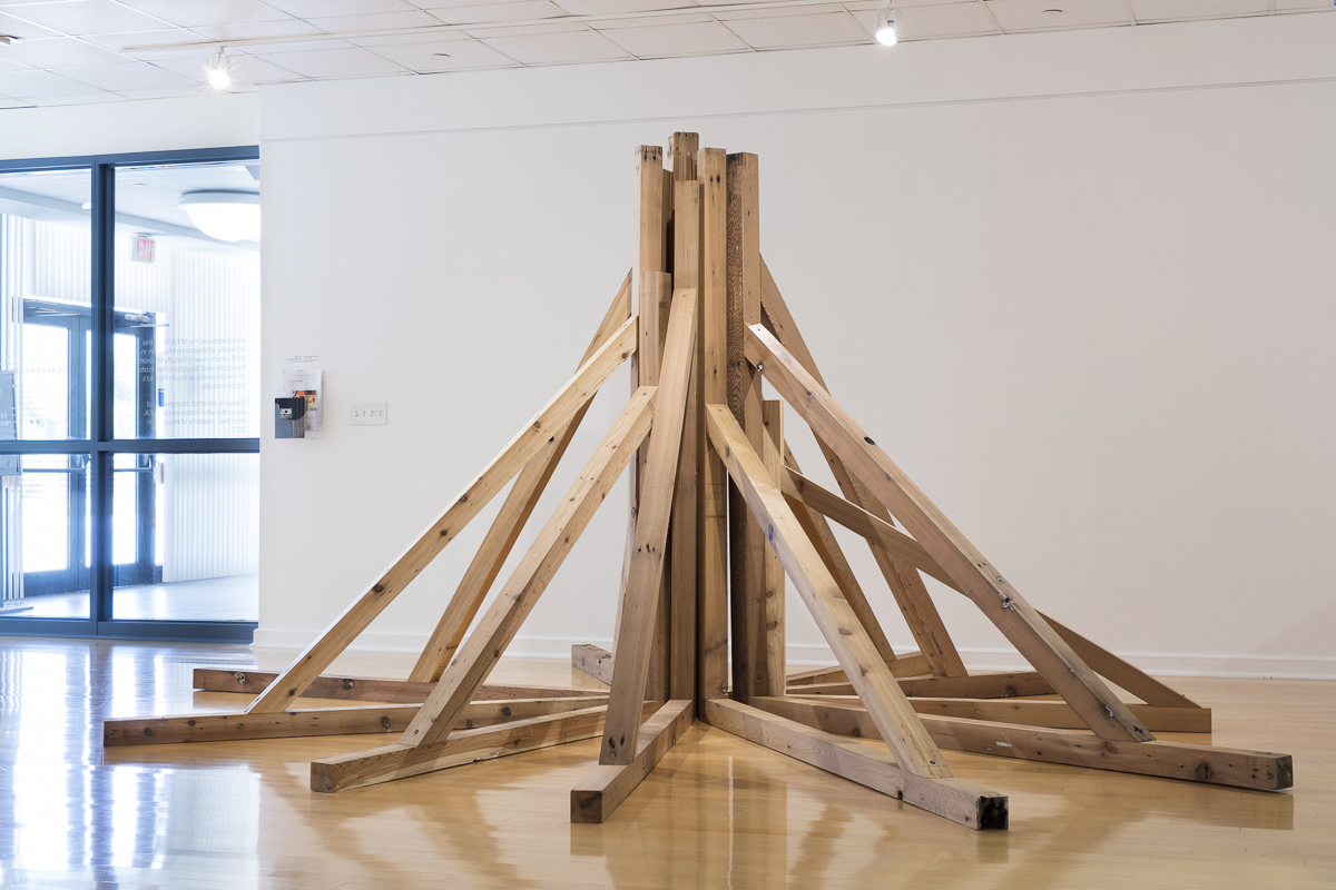 Imposed by force, 2019    Reclaimed Cedar, Dimensions variable