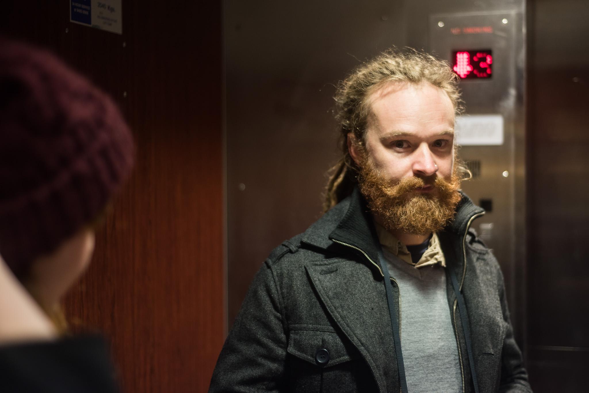 Asher in an elevator. Melbourne © Daniel Purvis