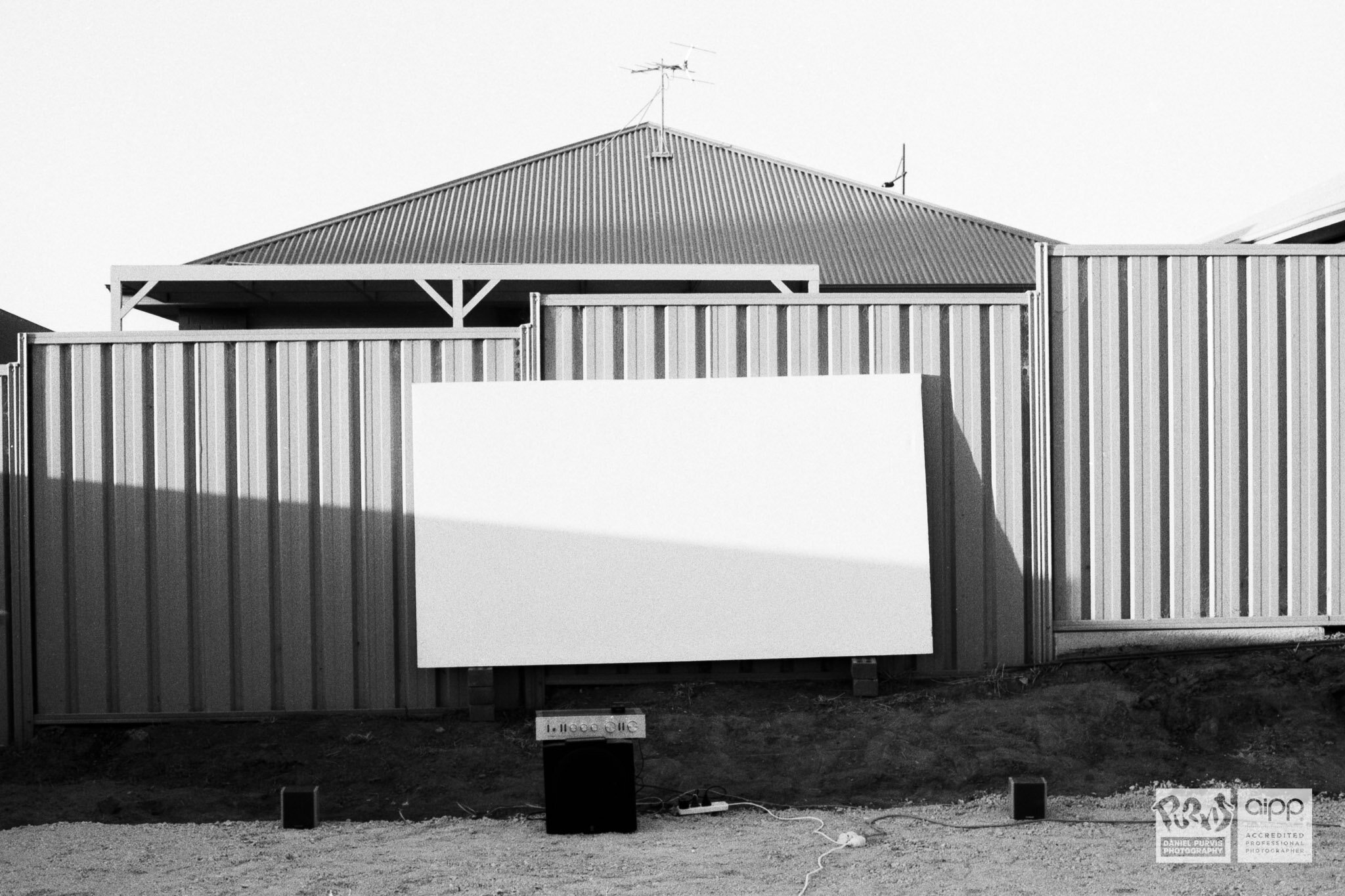 Toddlight Cinema screen setup and waiting for sunset and a terrible film, in this case The Howling II (1985).