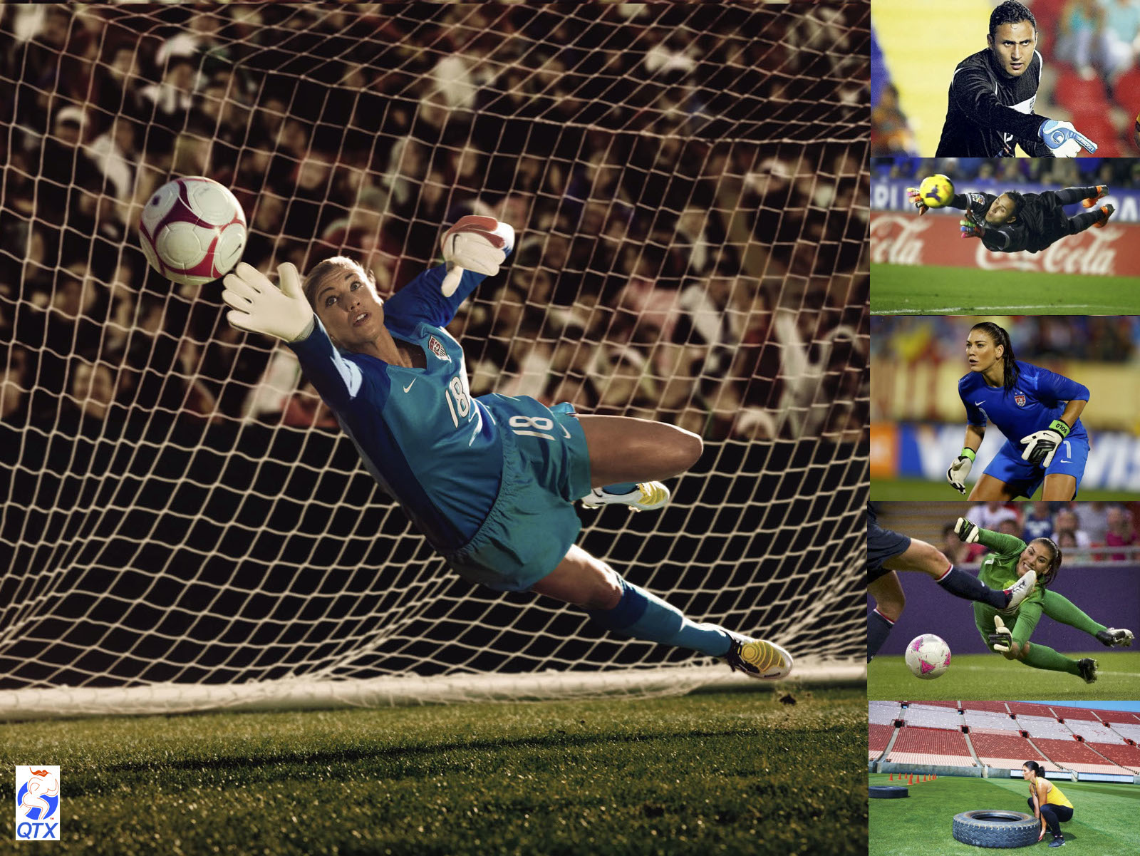 ABOVE,  Hope solo  and  Keylor Navas  in action. Hope solo is an american goalkeeper, dual olympic gold medallist and world cup medalist. Keylor Navas is currently Real Madrid's goalkeeper and considered the best player on his position in the last world cup playing for Costa Rica national team.