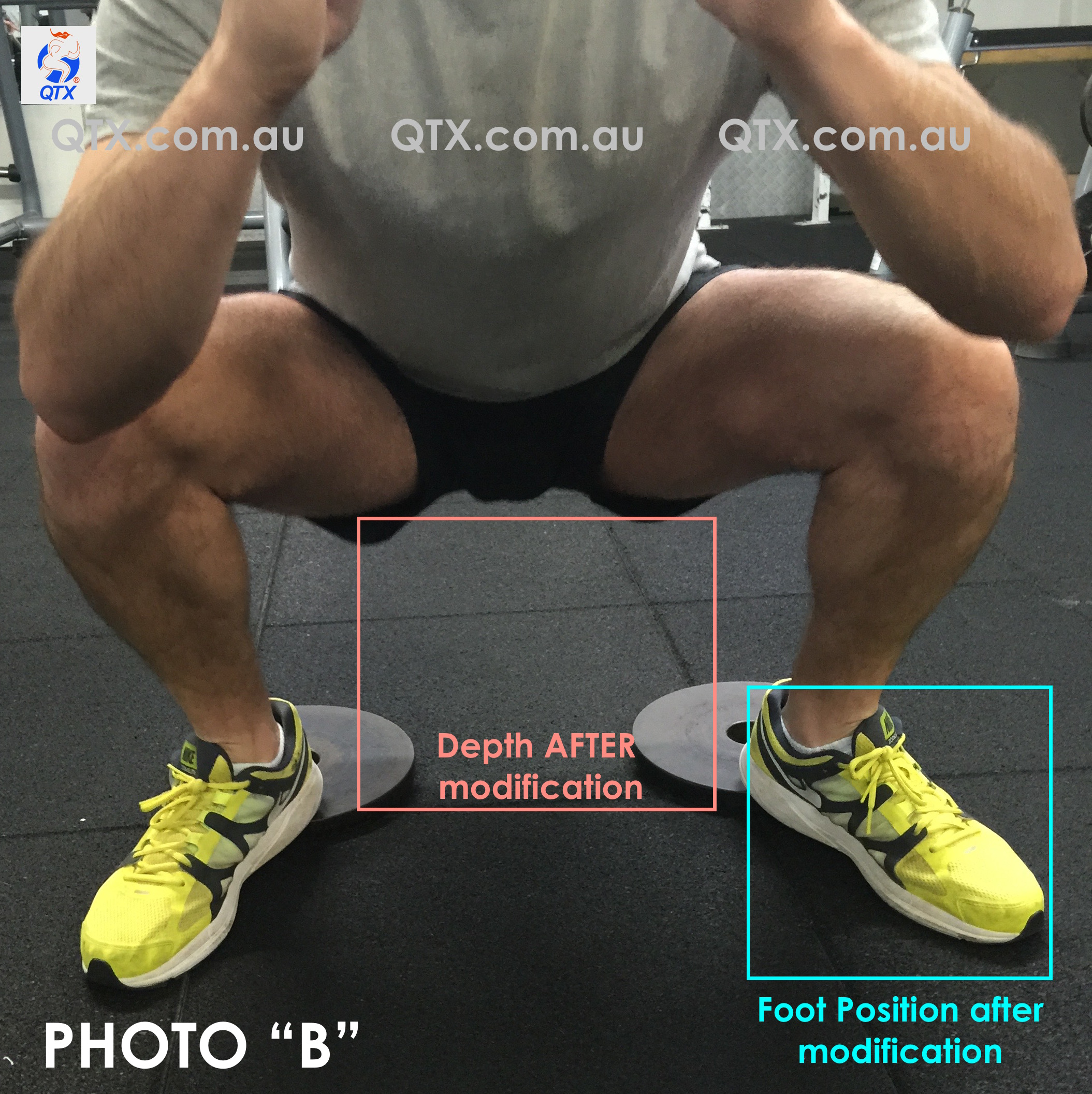 After prescribing a slight external rotation of the left foot, the Client is now able to squat a bit deeper while keeping his spine neutral and achieving optimal range of motion of the hips. Proper  lifting shoes were recommended for movements like fron squats and Olympic lifting movements.