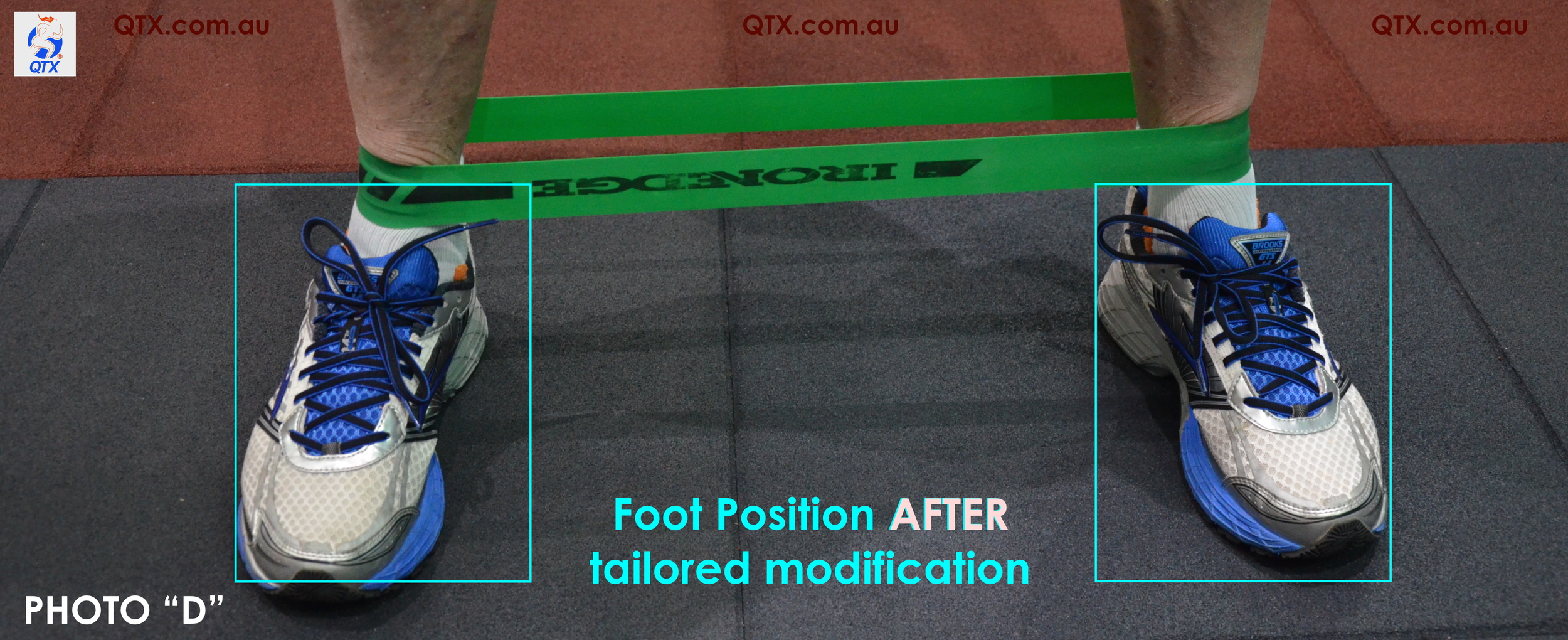 "Simply by rotating feet internally (toes pointing forward), our client was able to optimise the ""work rate"" of his gluteus medius rather that presenting compensatory activation of the hip flexors."