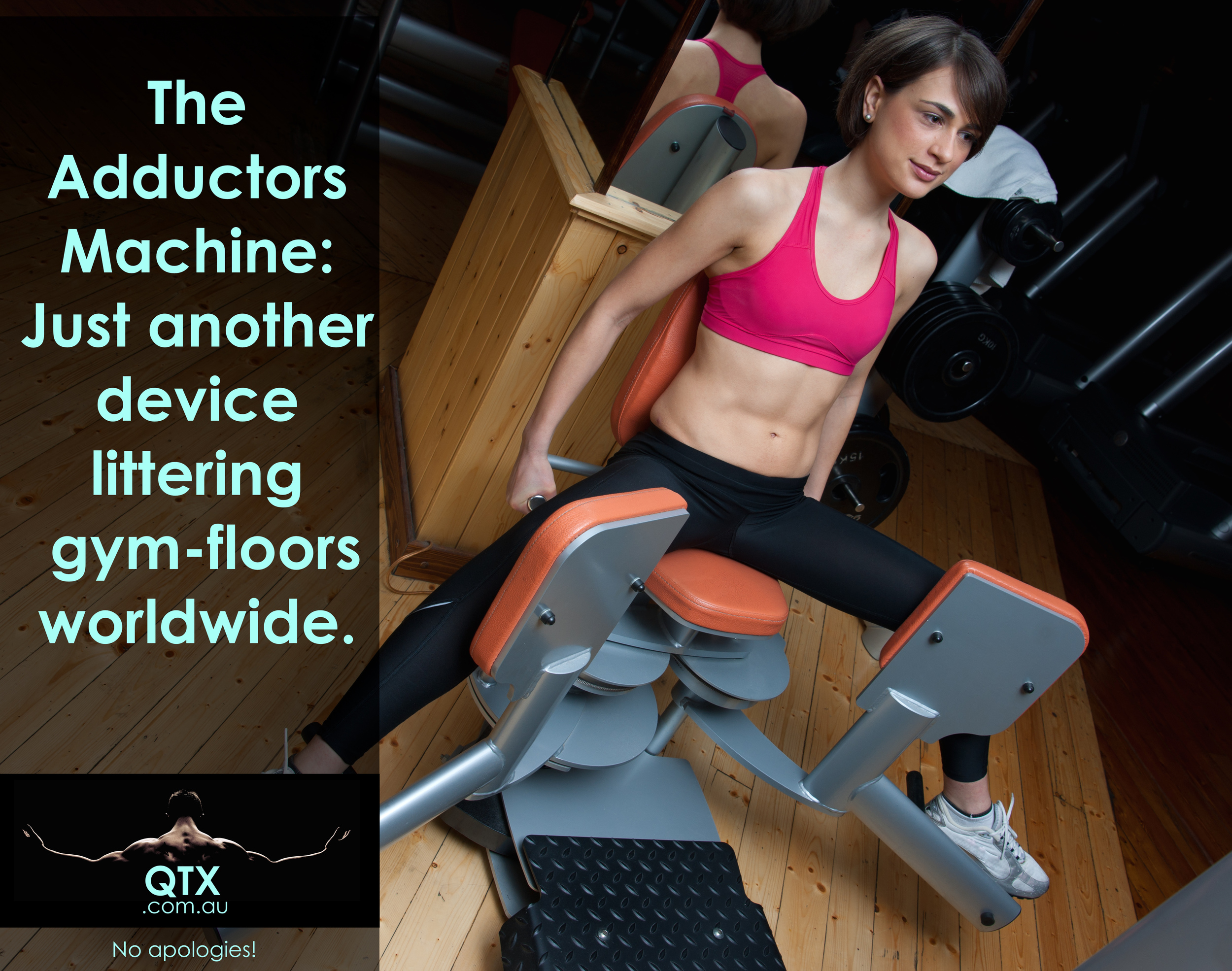 """Lets elaborate about my lack of affection for adductor machines. It's not just the fact that they don't represent a carryover or functional human movement. The main concern -in terms of biomechanics, physiological and neuromuscular functions-is the fact that the inner thigh muscles are designed to activate more efficiently during tension (think about a rubber band getting stretched). Such tension represents the eccentric contraction (or negative phase of the movement. For instance,putting a heavy pot on the floor). Through corrective training, the adductor muscles can get adapted to greater levels of tension. The adductor machine, on the other hand, does almost the opposite as it provides resistance mostly during de concentric phase of the action """"demanded""""by the apparatus (which, in our previous example,it's the equivalent to the moment when we pick up the heavy pot. So, the elastic rubbers -the adductors- start to lose tension). That doesn't make any sense apart from """"decorate"""" the gym floor with the bulky and shiny machines. Let alone that those pieces of furniture are bolted to the floor and provide the balance,symmetry and stability that your body and brain should find. In shorts words, training results should be earned. The solutions are Not given by machines."""