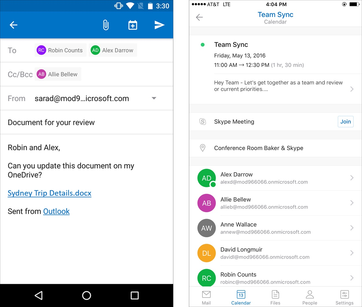Outlook on iOS and Android devices now lets you insert links to OneDrive for Business files in email (left), and in next week's update, join Skype Meetings in one click (right).